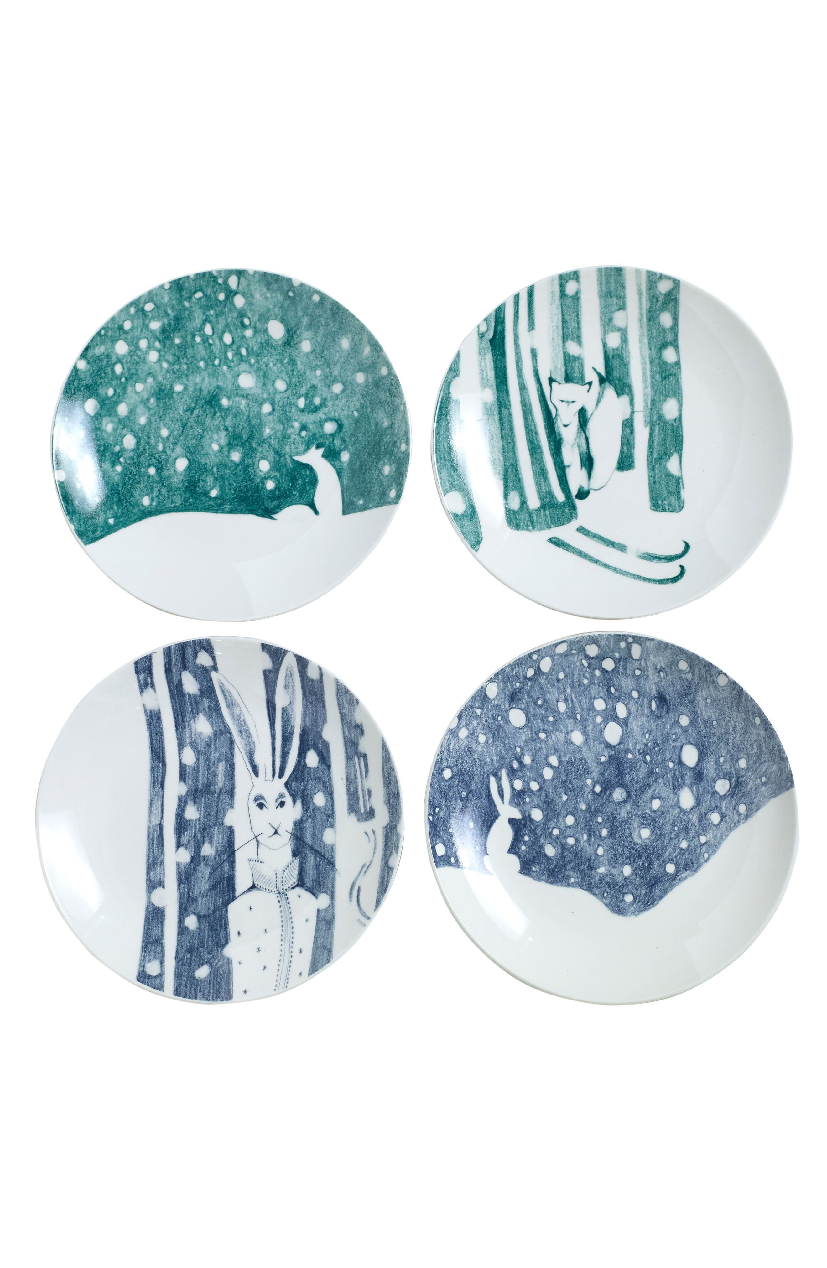 Eric & Eloise Forest Set of 4 Plates, Main, color, 400