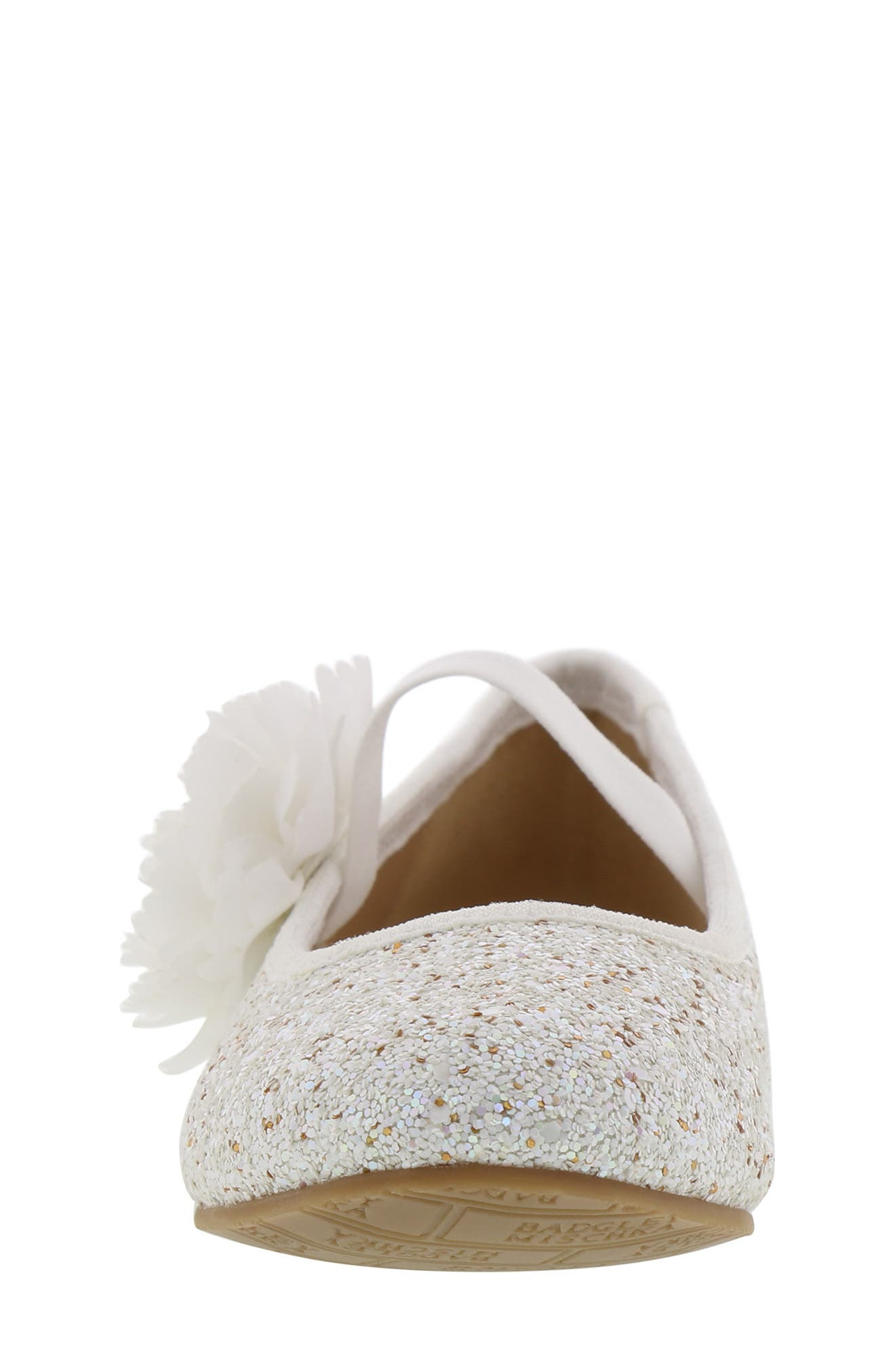 Badgley Mischka Amber Flower Glitter Mary Jane Flat,                             Alternate thumbnail 4, color,                             WHITE GLITTER