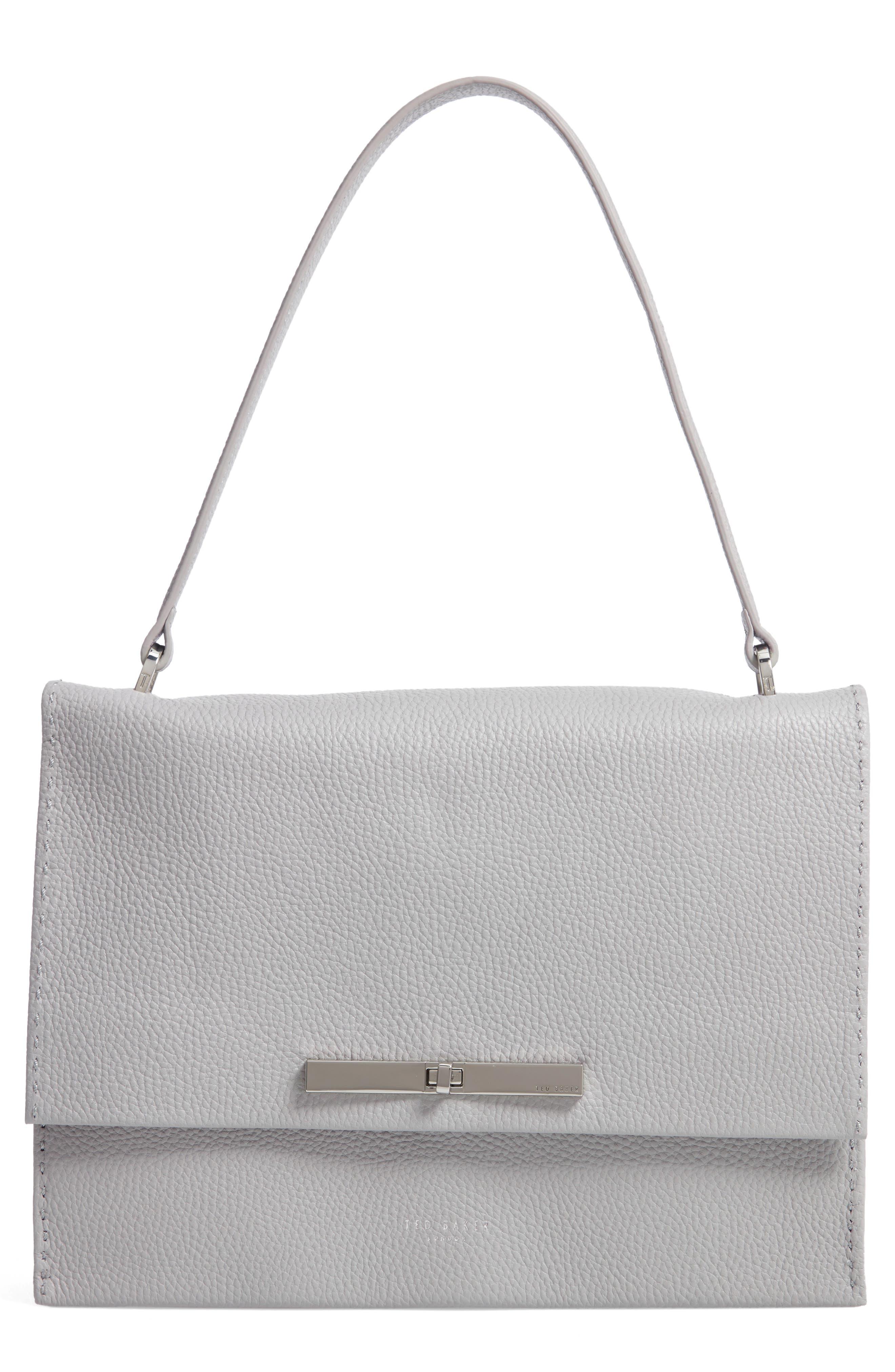 Jessi Leather Shoulder Bag,                         Main,                         color, GREY