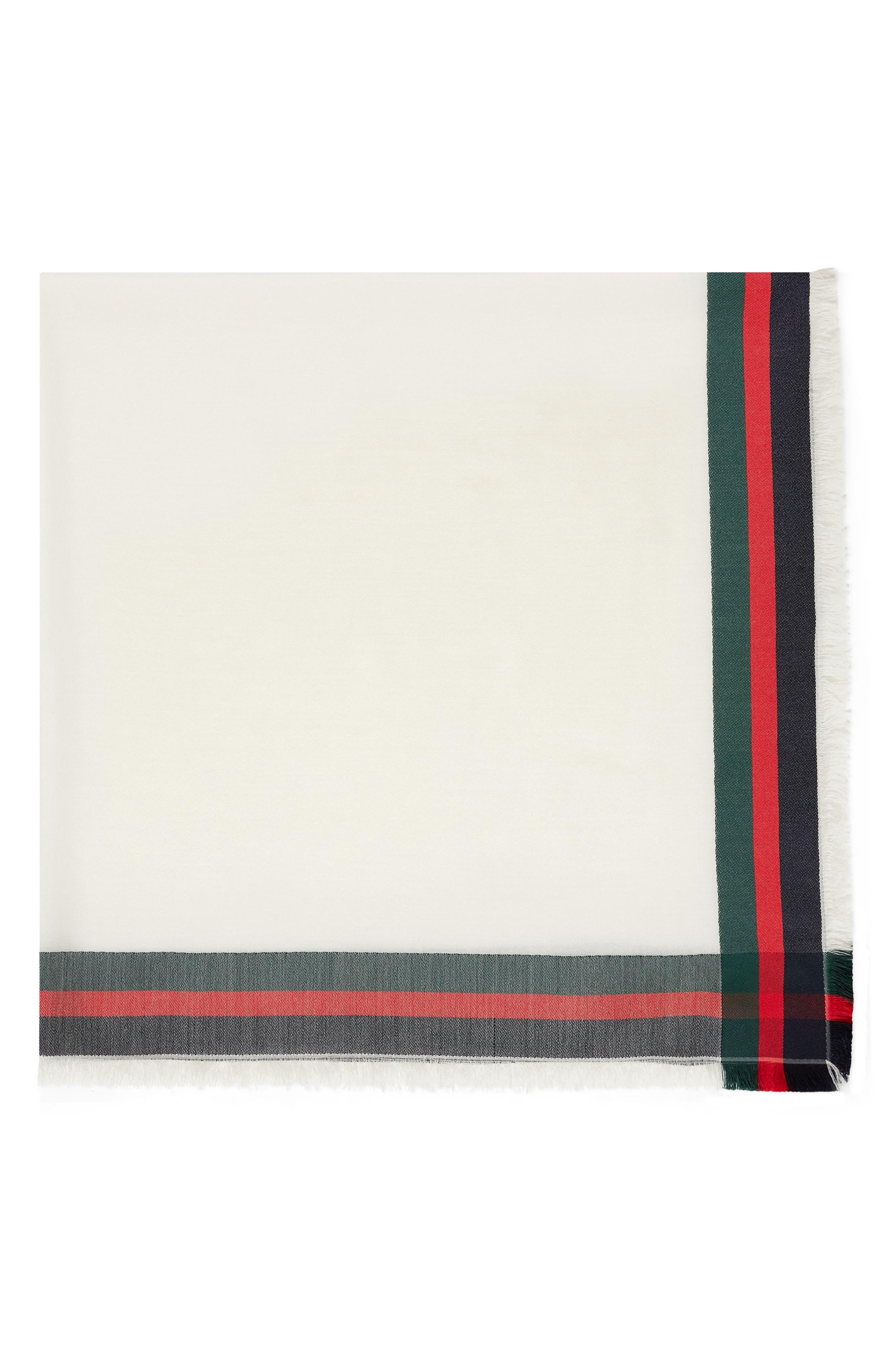 Web Jacquard Silk & Wool Shawl,                             Alternate thumbnail 2, color,                             IVORY