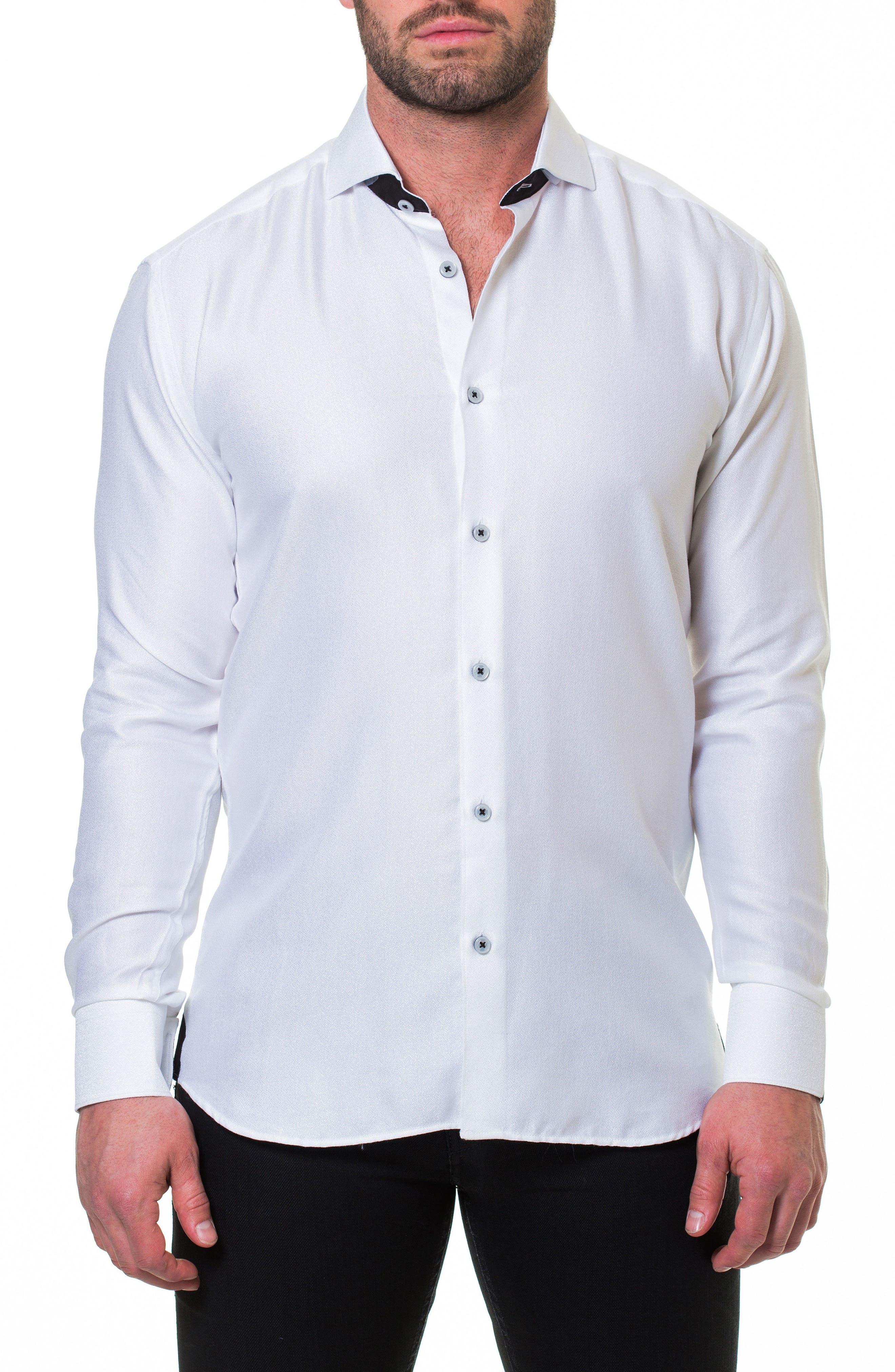 MACEOO,                             Wall Street Serenity White Slim Fit Sport Shirt,                             Main thumbnail 1, color,                             110