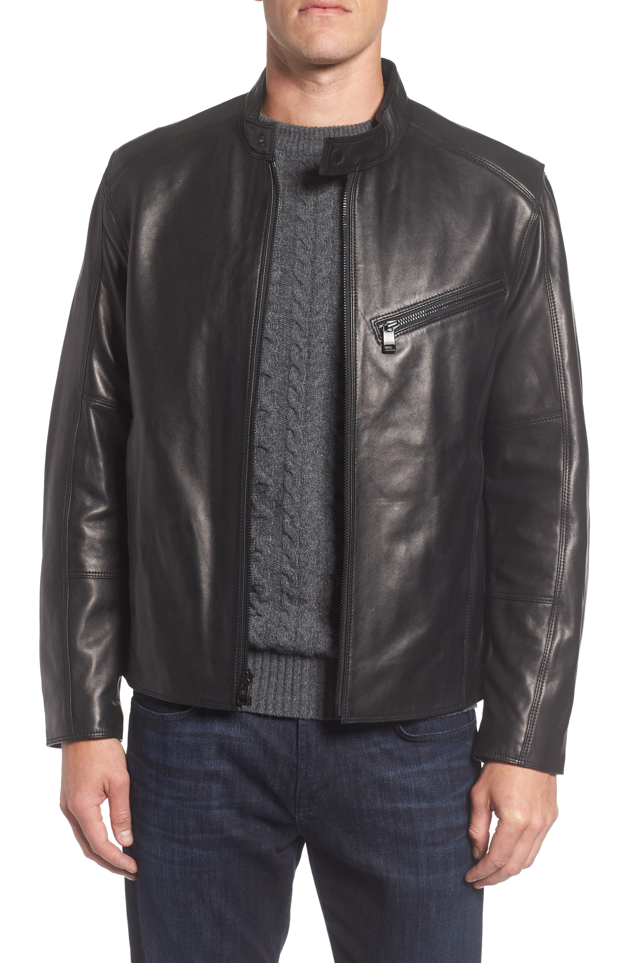 Gibson Slim Leather Moto Jacket,                         Main,                         color, 001