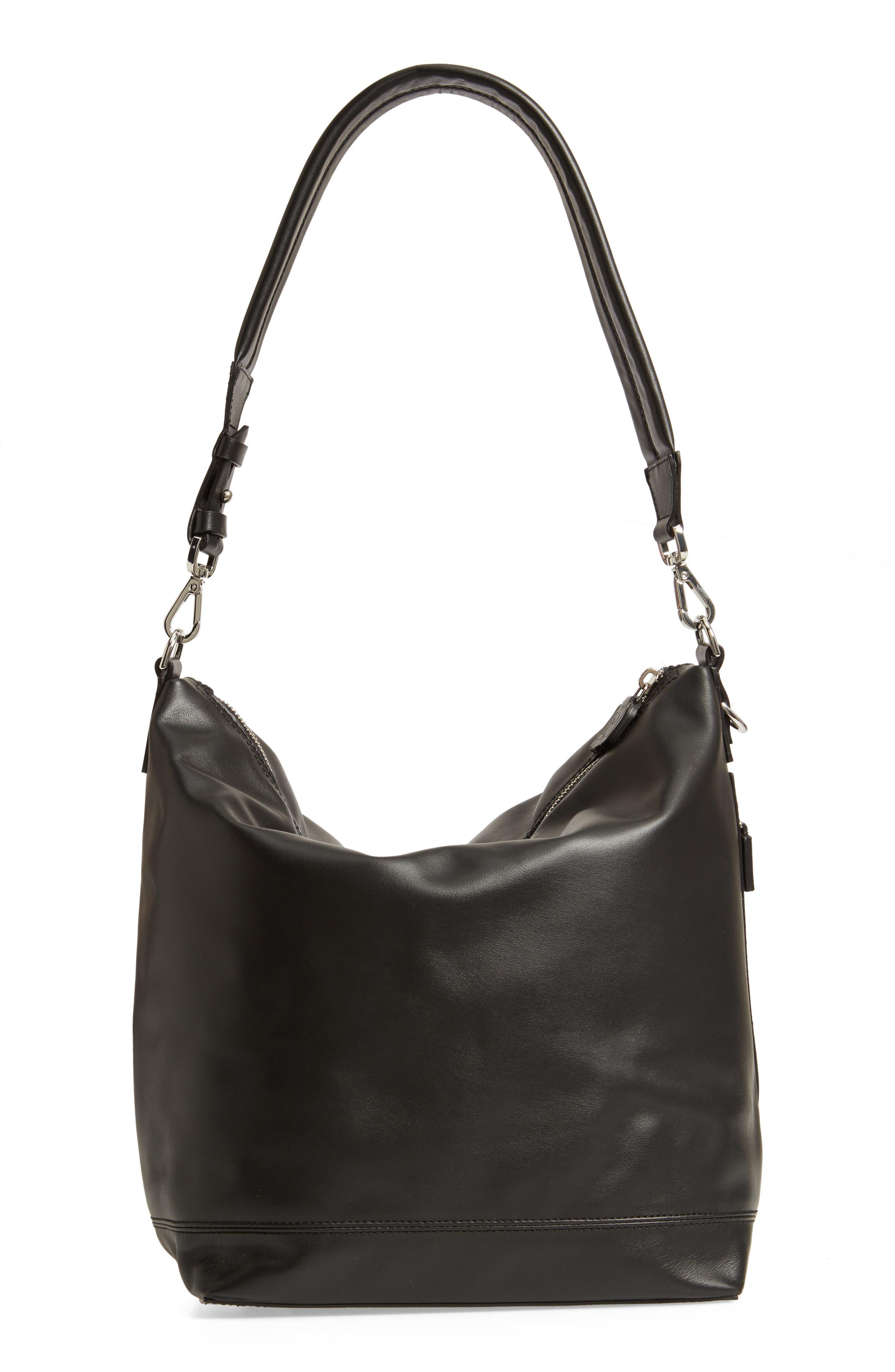 Faux Leather Convertible Hobo,                             Alternate thumbnail 4, color,                             BLACK/ BLACK