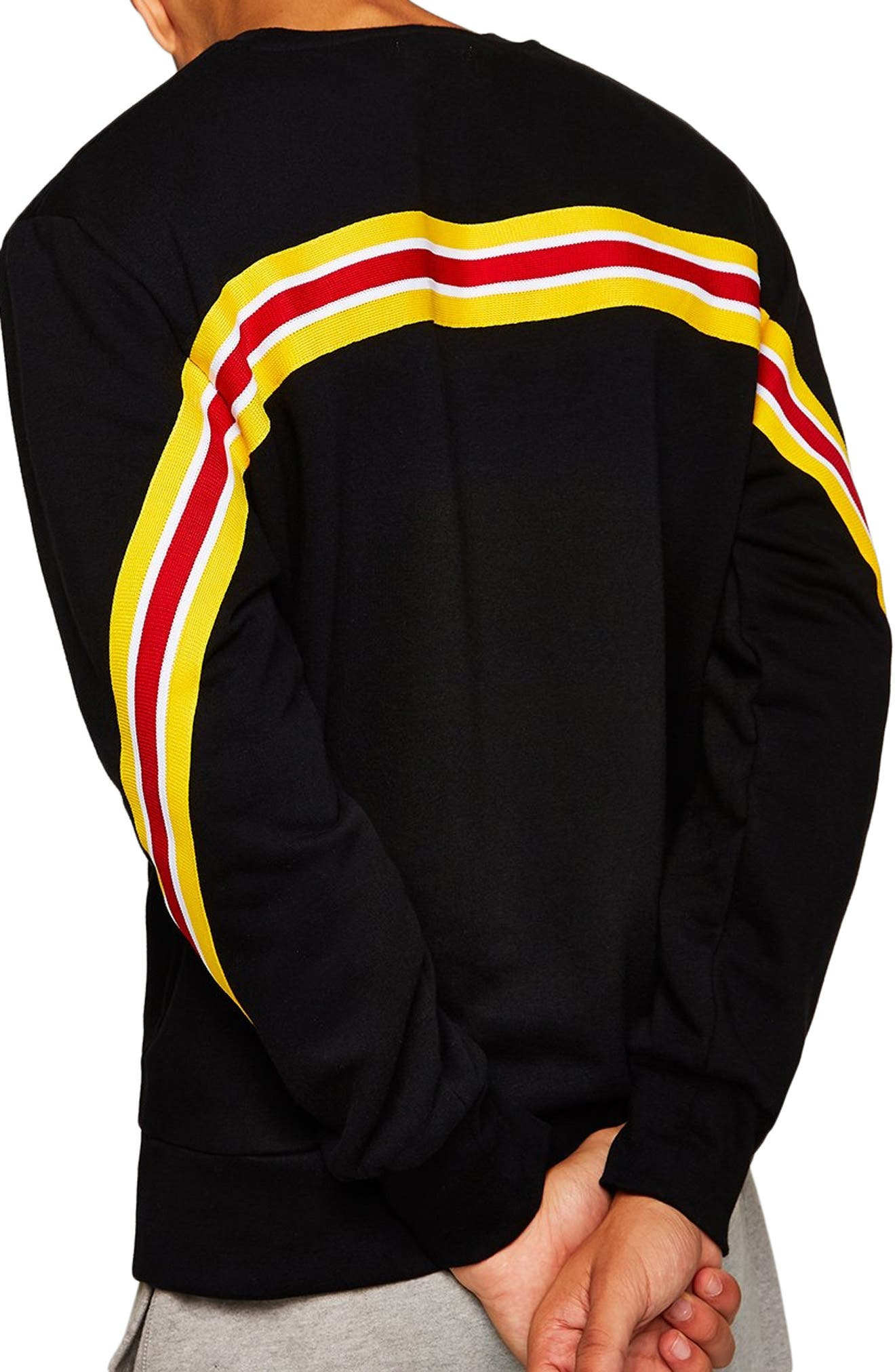 Back Taping Classic Fit Sweatshirt,                             Alternate thumbnail 2, color,                             BLACK MULTI
