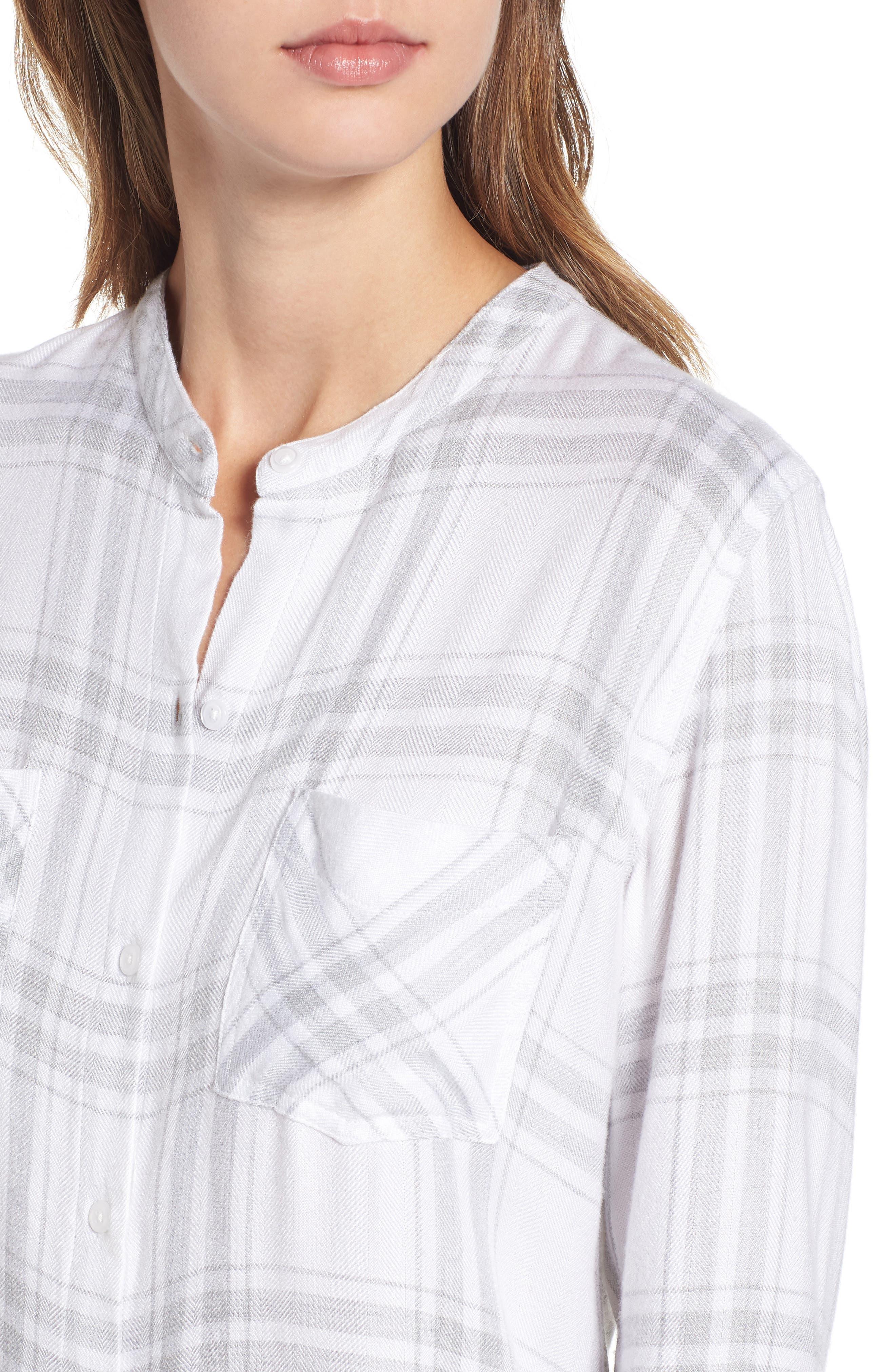 Allison Plaid Shirt,                             Alternate thumbnail 4, color,                             WHITE SILVER