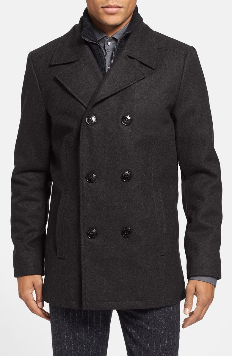f1baf934f06 REACTION KENNETH COLE Kenneth Cole Reaction Regular Fit Double Breasted  Wool Blend Peacoat with Knit Bib
