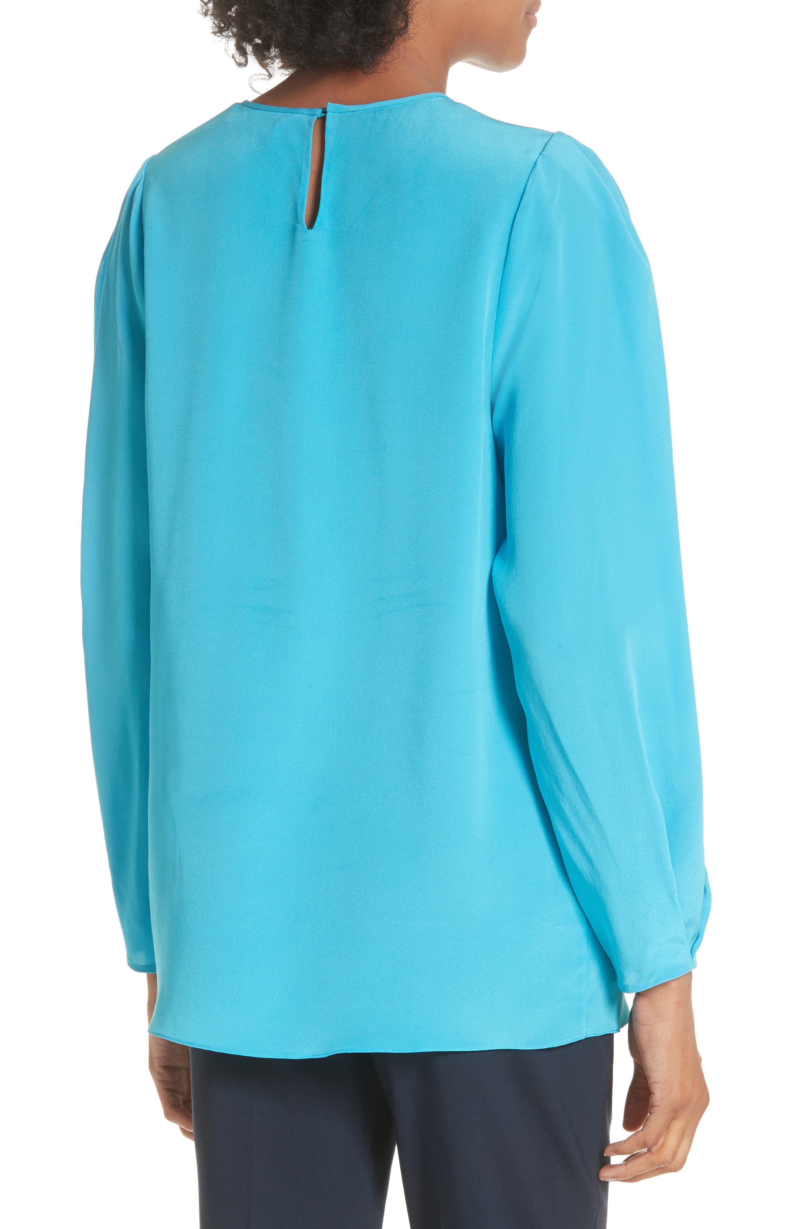Cinched Sleeve Silk Blouse,                             Alternate thumbnail 2, color,