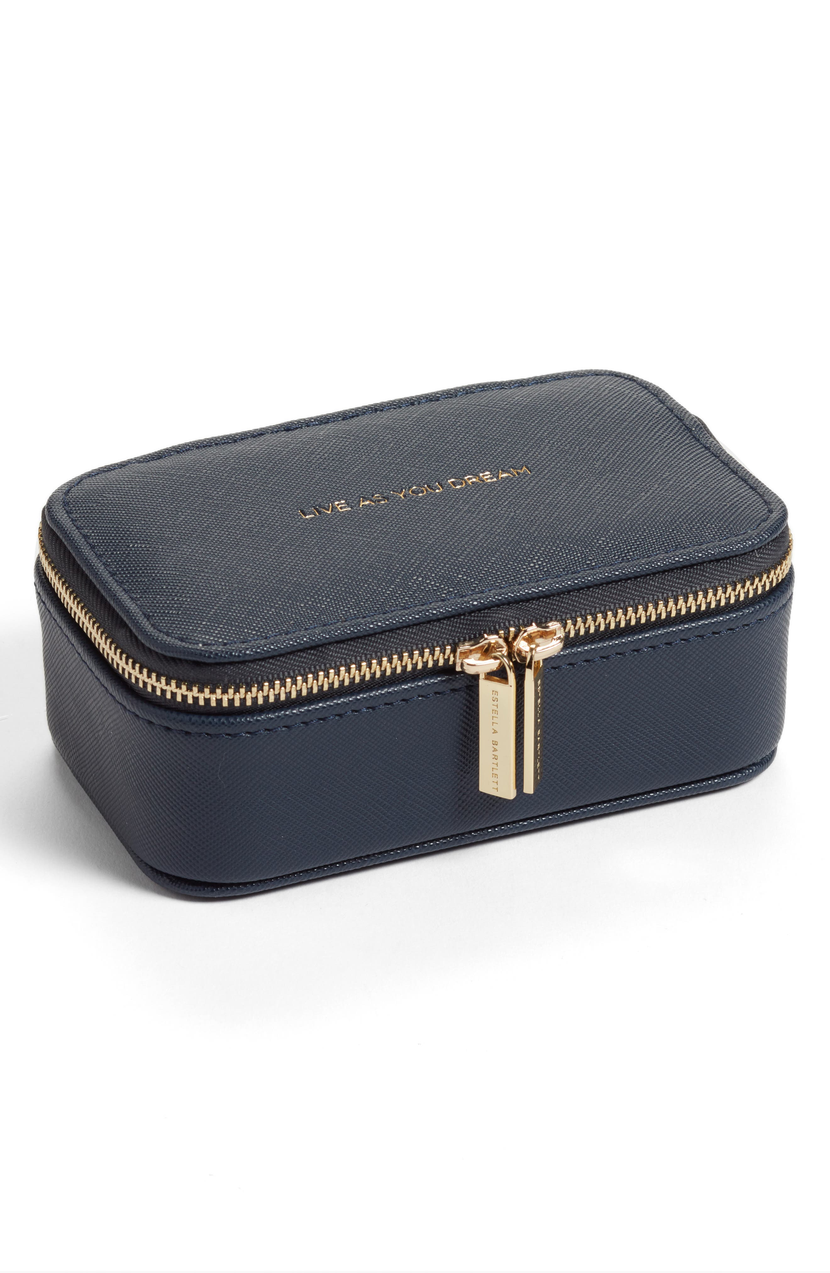 Mini Jewelry Box,                             Main thumbnail 1, color,                             NAVY - LIVE AS YOU DREAM