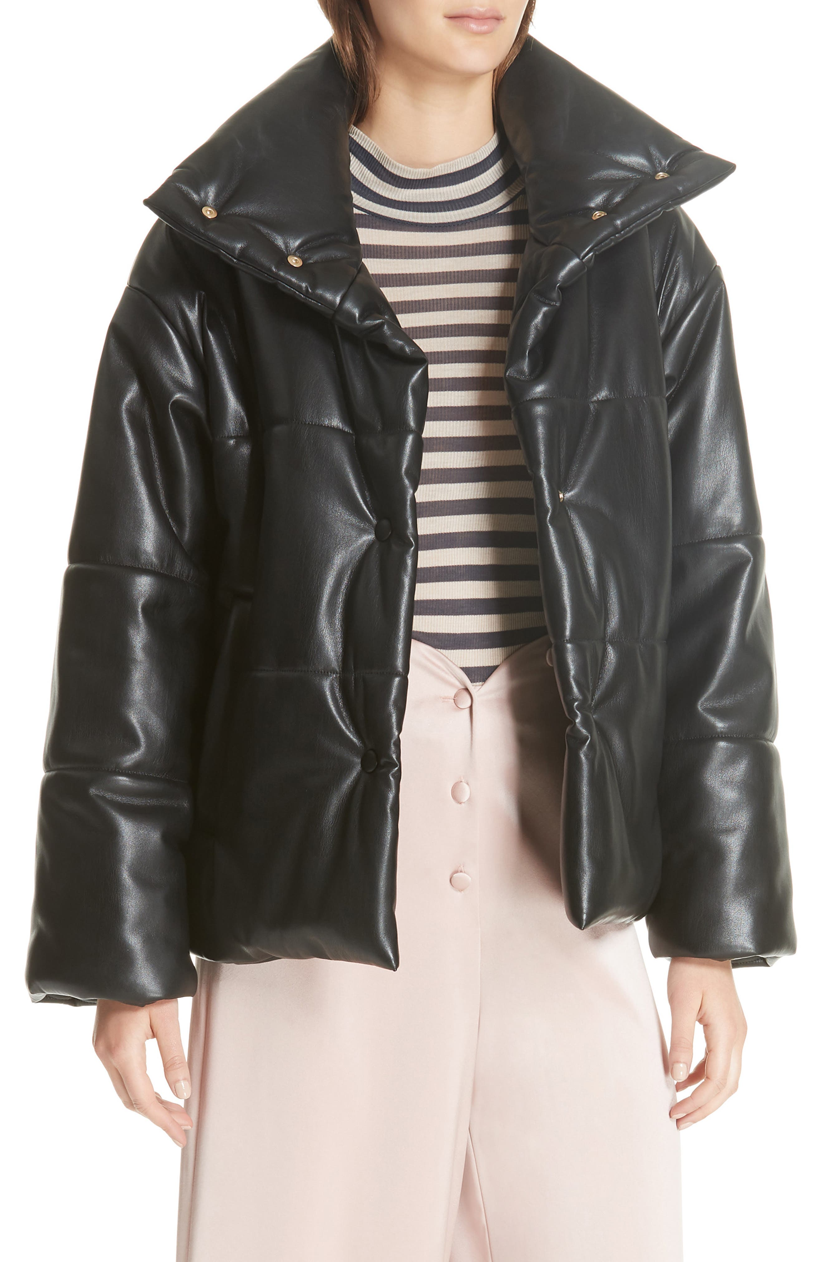 Hide Faux Leather Puffer Jacket,                             Main thumbnail 1, color,                             BLACK