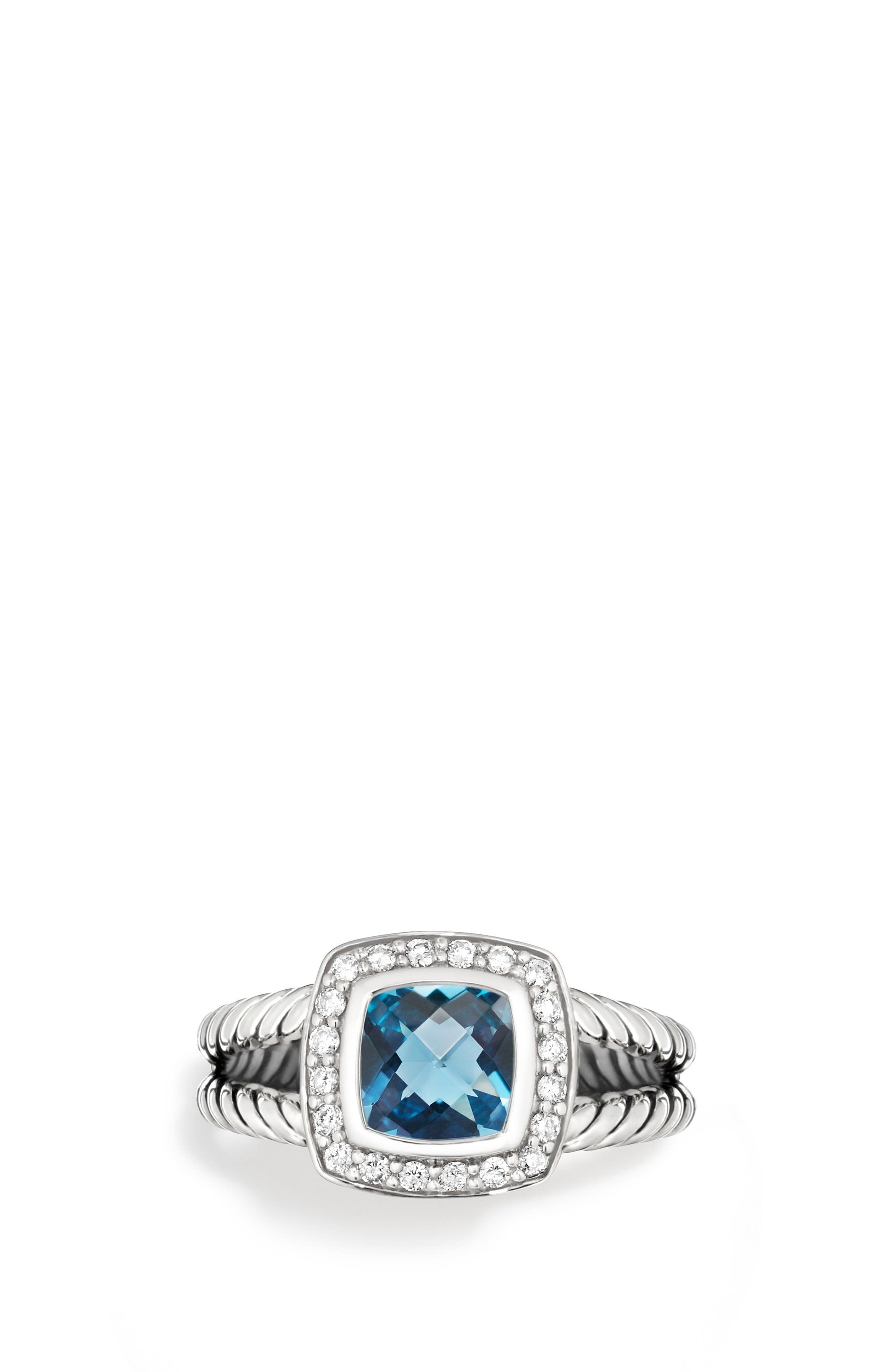Petite Albion<sup>®</sup> Ring with Diamonds,                             Main thumbnail 1, color,                             HAMPTON BLUE TOPAZ