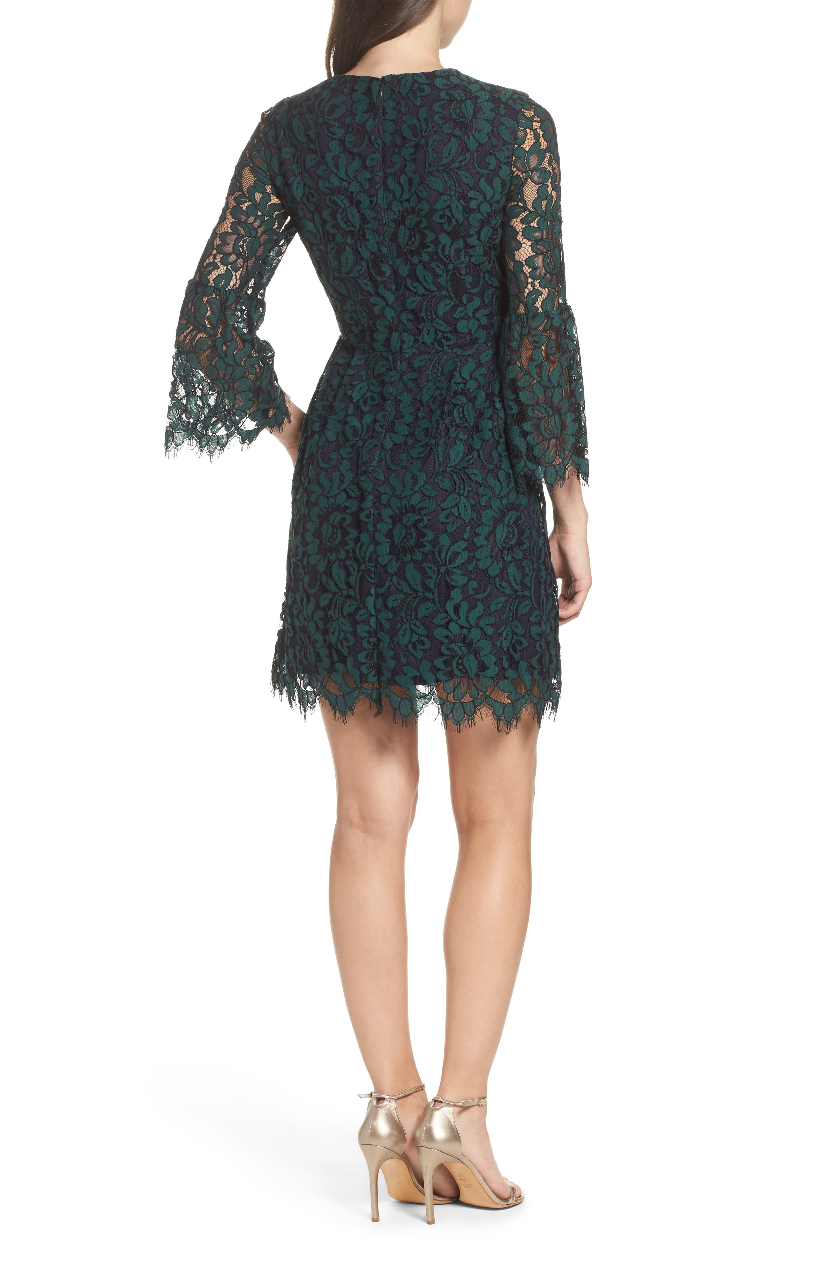 Lace Fit & Flare Dress,                             Alternate thumbnail 2, color,                             301