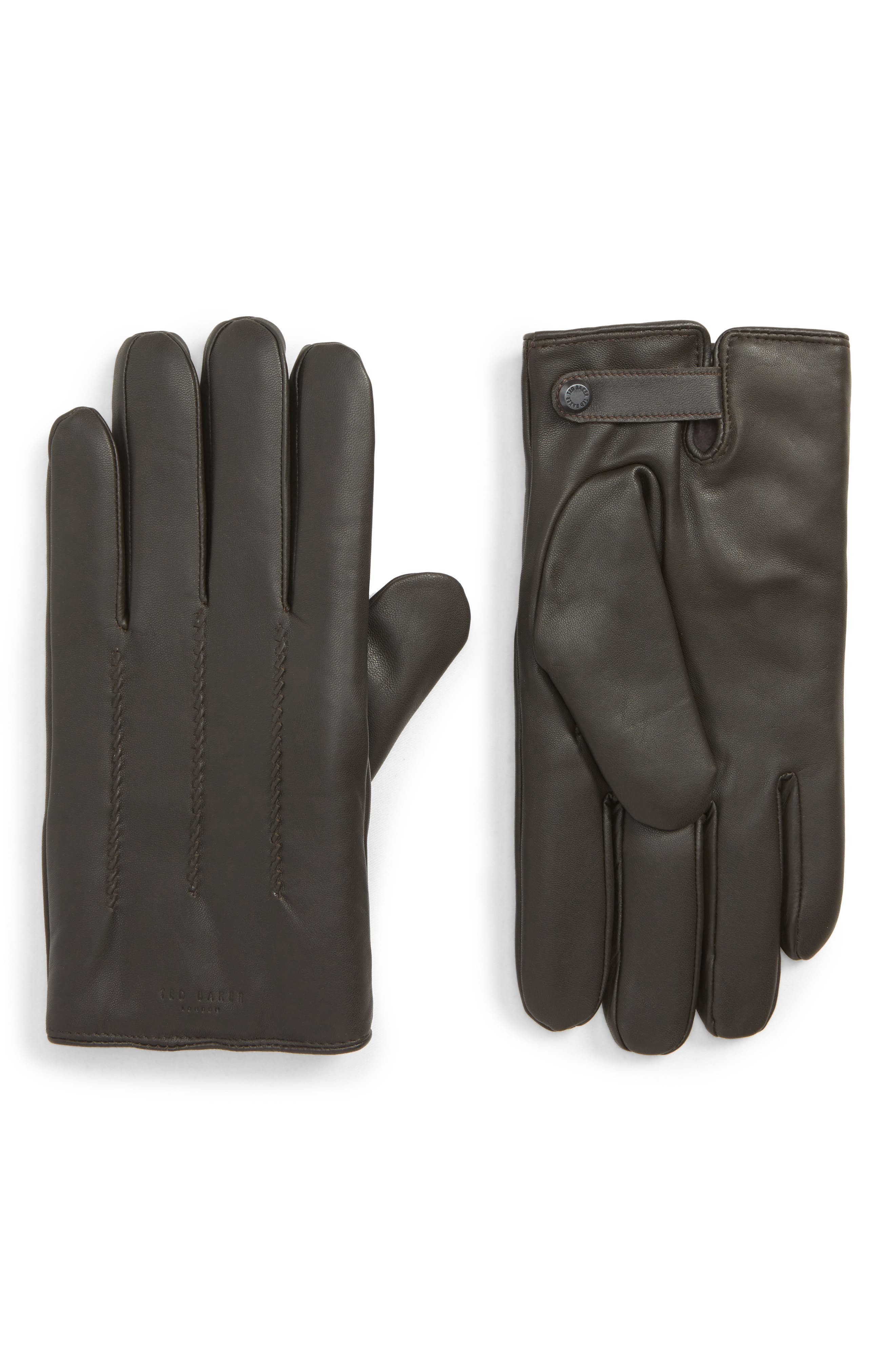 Leather Gloves,                         Main,                         color, CHOCOLATE