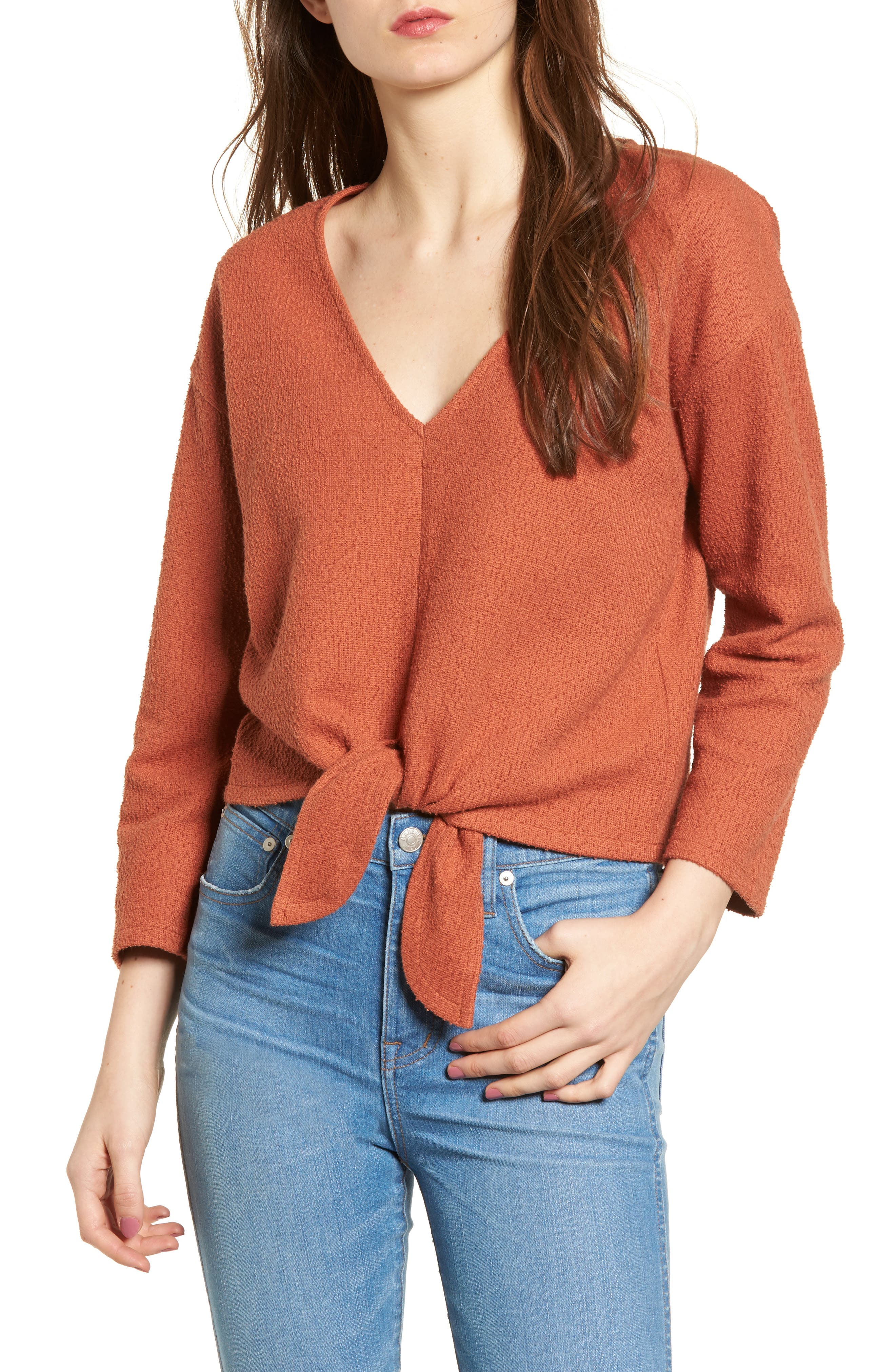 Textured Tie Front Top,                         Main,                         color, AFTERGLOW RED