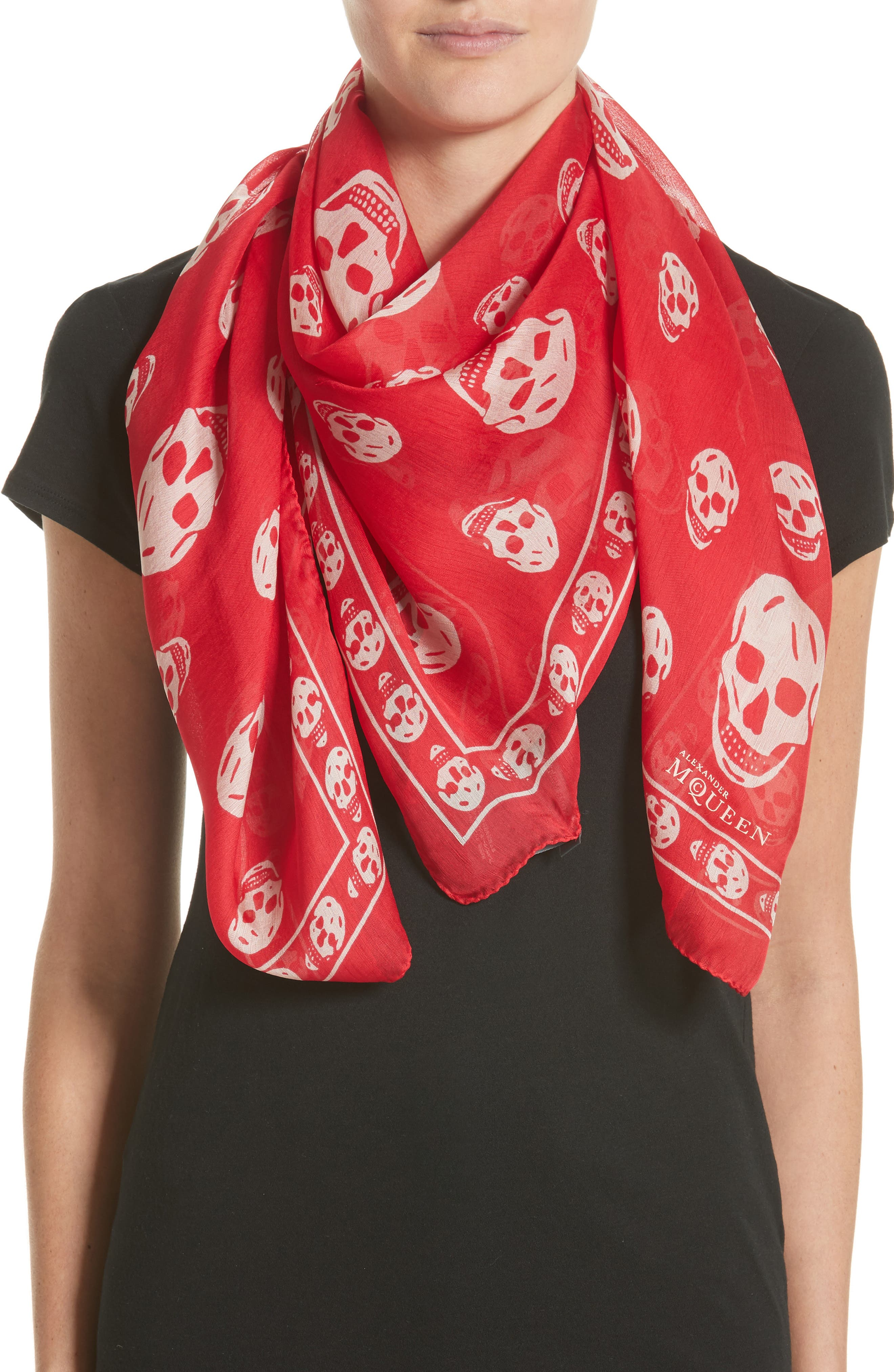 'Skull' Chiffon Scarf,                             Alternate thumbnail 2, color,                             CORAL/ BEIGE