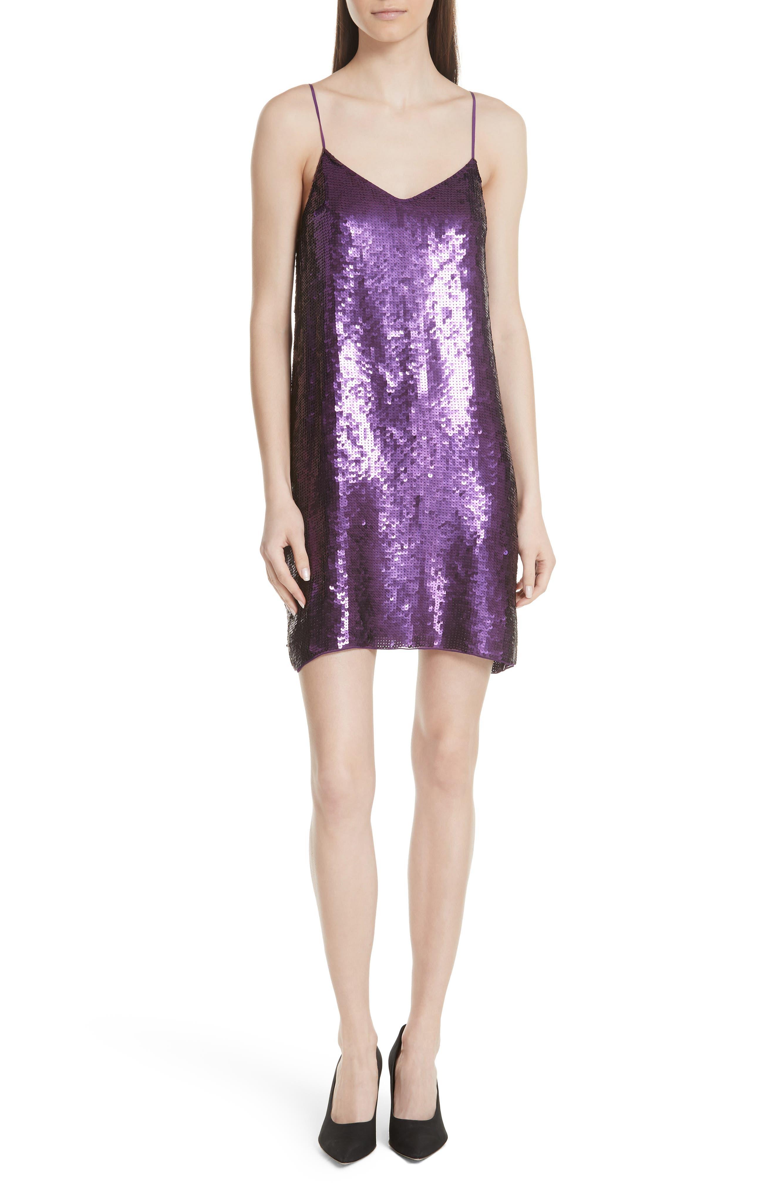 Tibi Sequin Slipdress, Purple