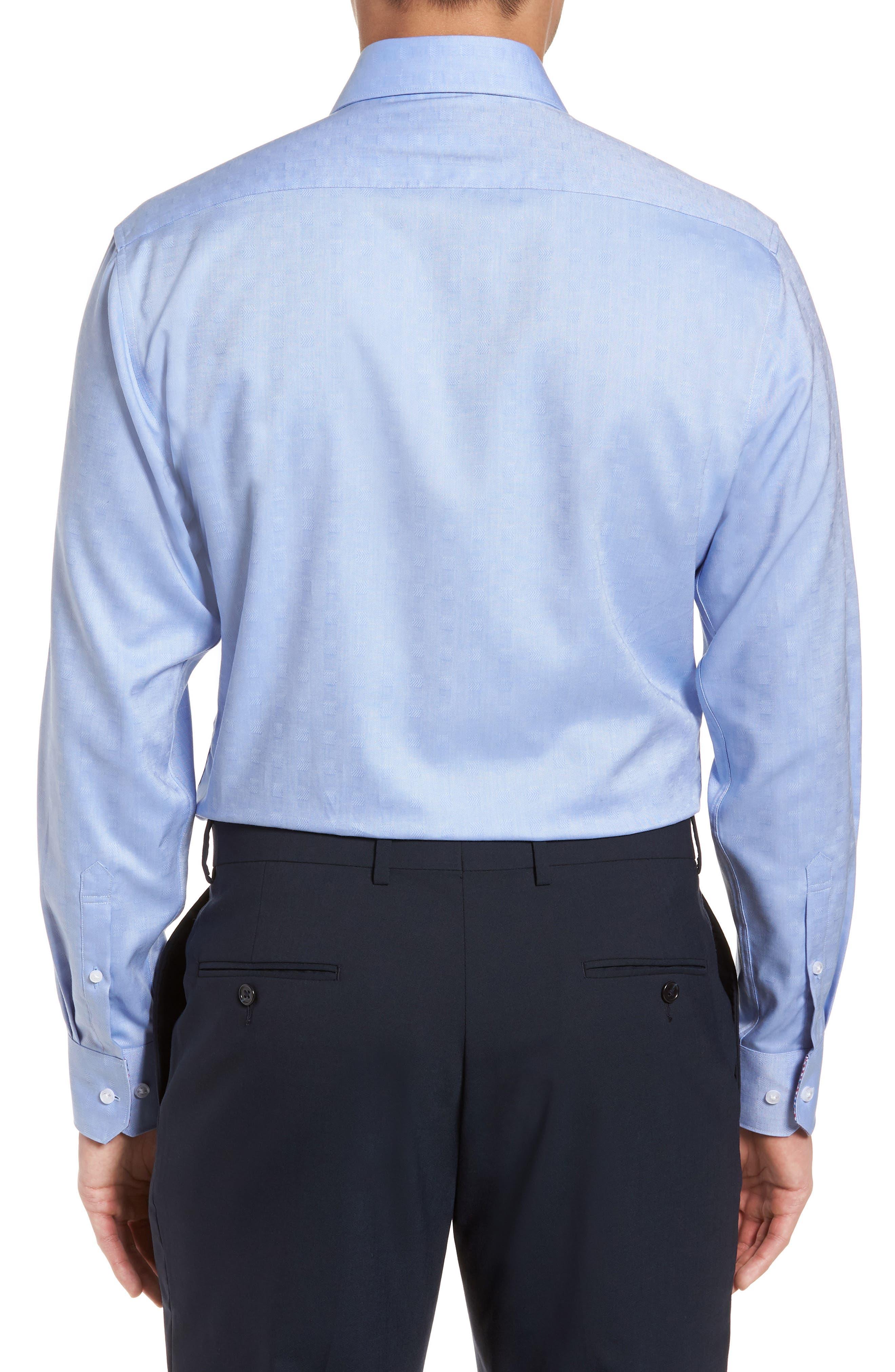 Ashur Trim Fit Solid Dress Shirt,                             Alternate thumbnail 3, color,                             BLUE
