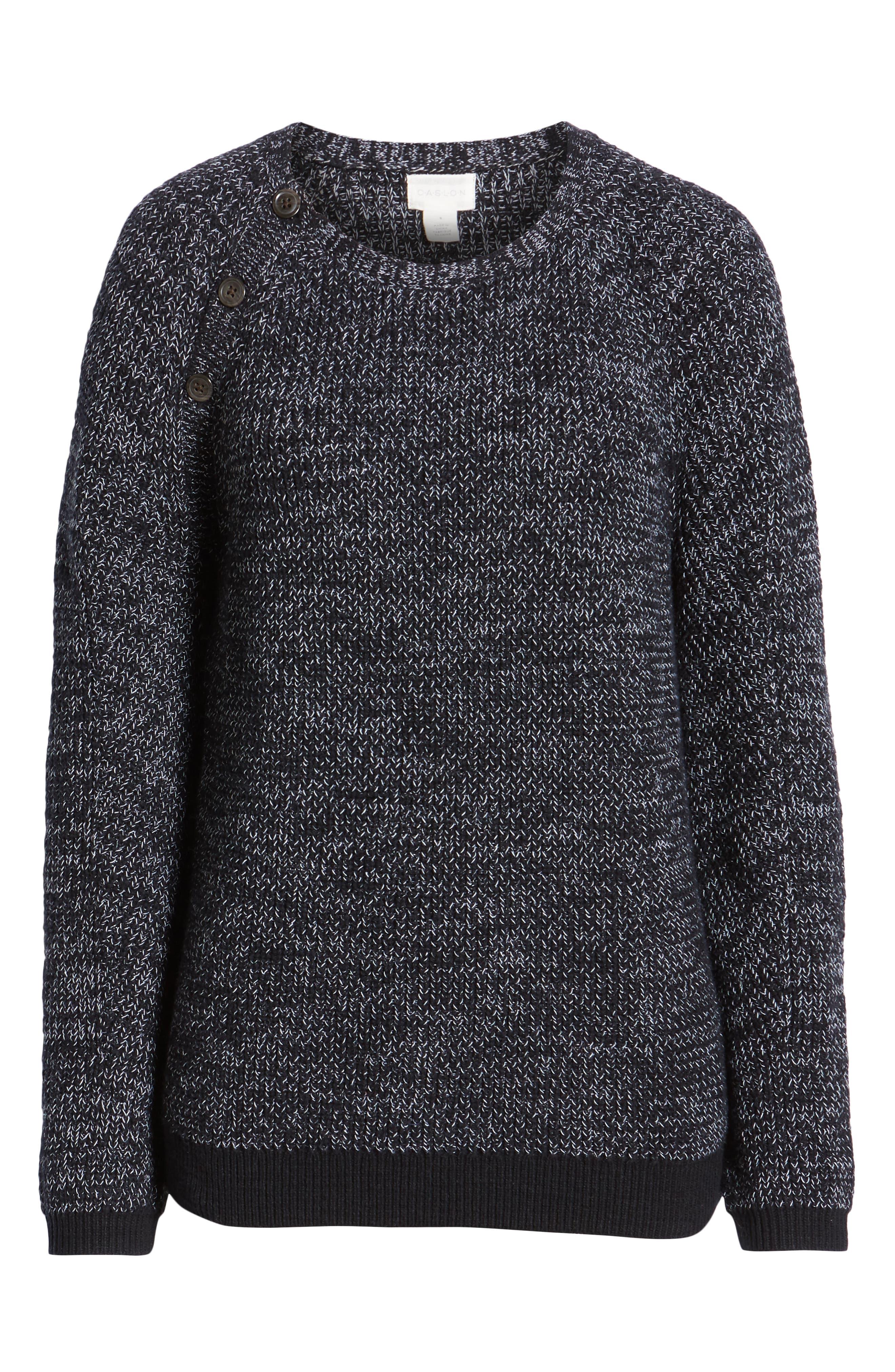 Raglan Sleeve Sweater,                             Alternate thumbnail 6, color,                             BLACK CREW MARL