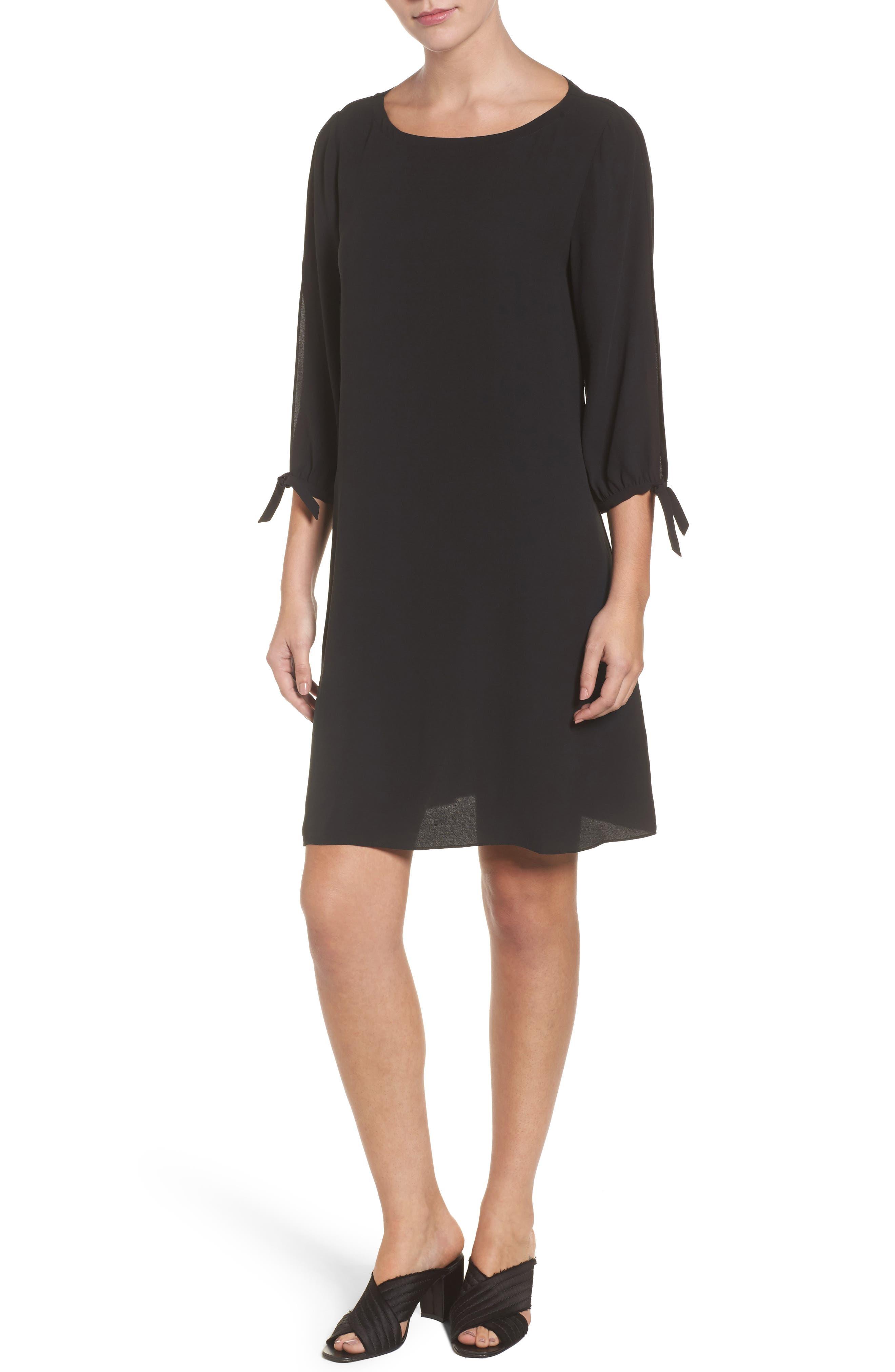 Silk Shift Dress,                         Main,                         color, 001