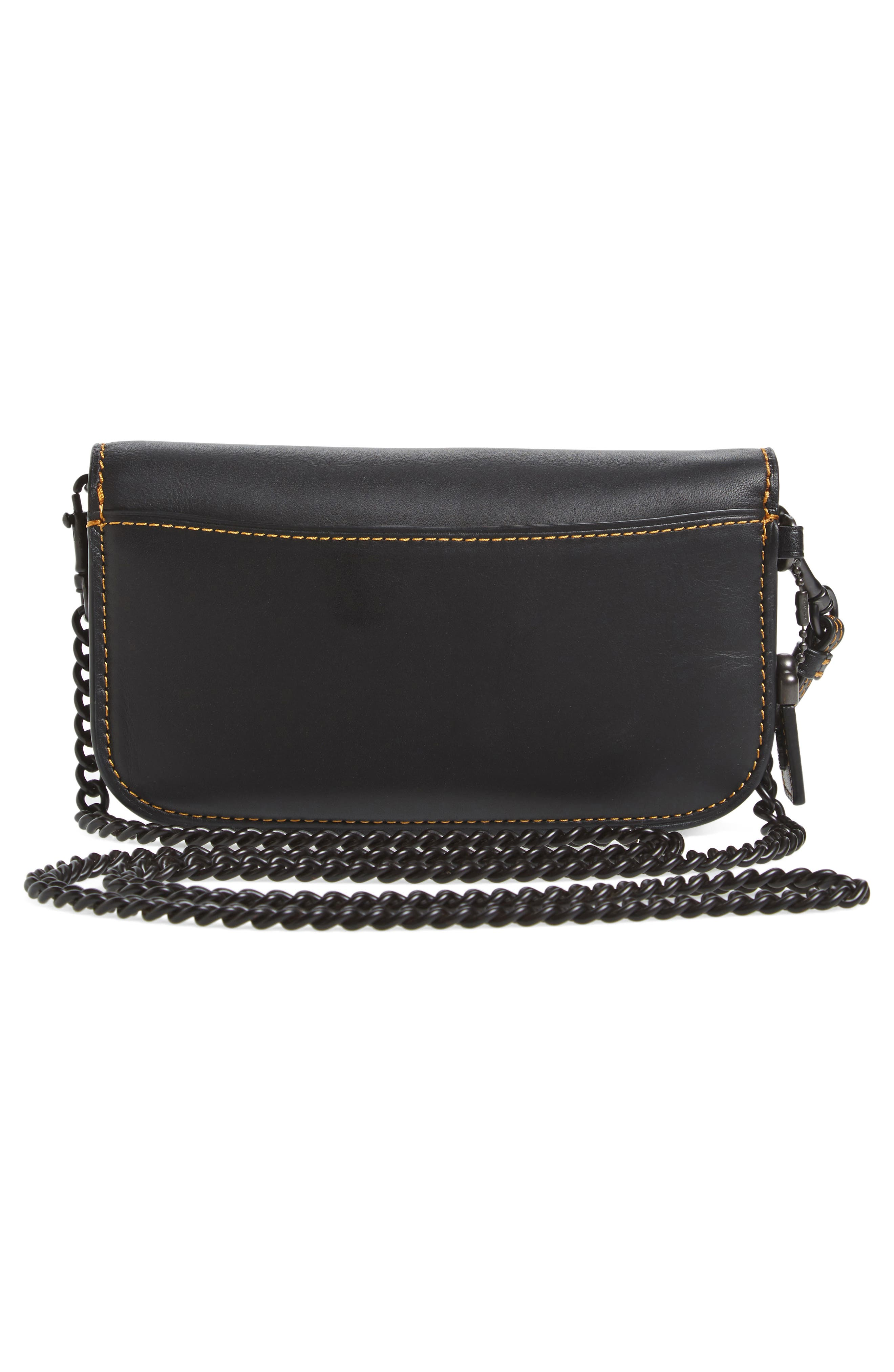 Leather Clutch,                             Alternate thumbnail 4, color,                             001