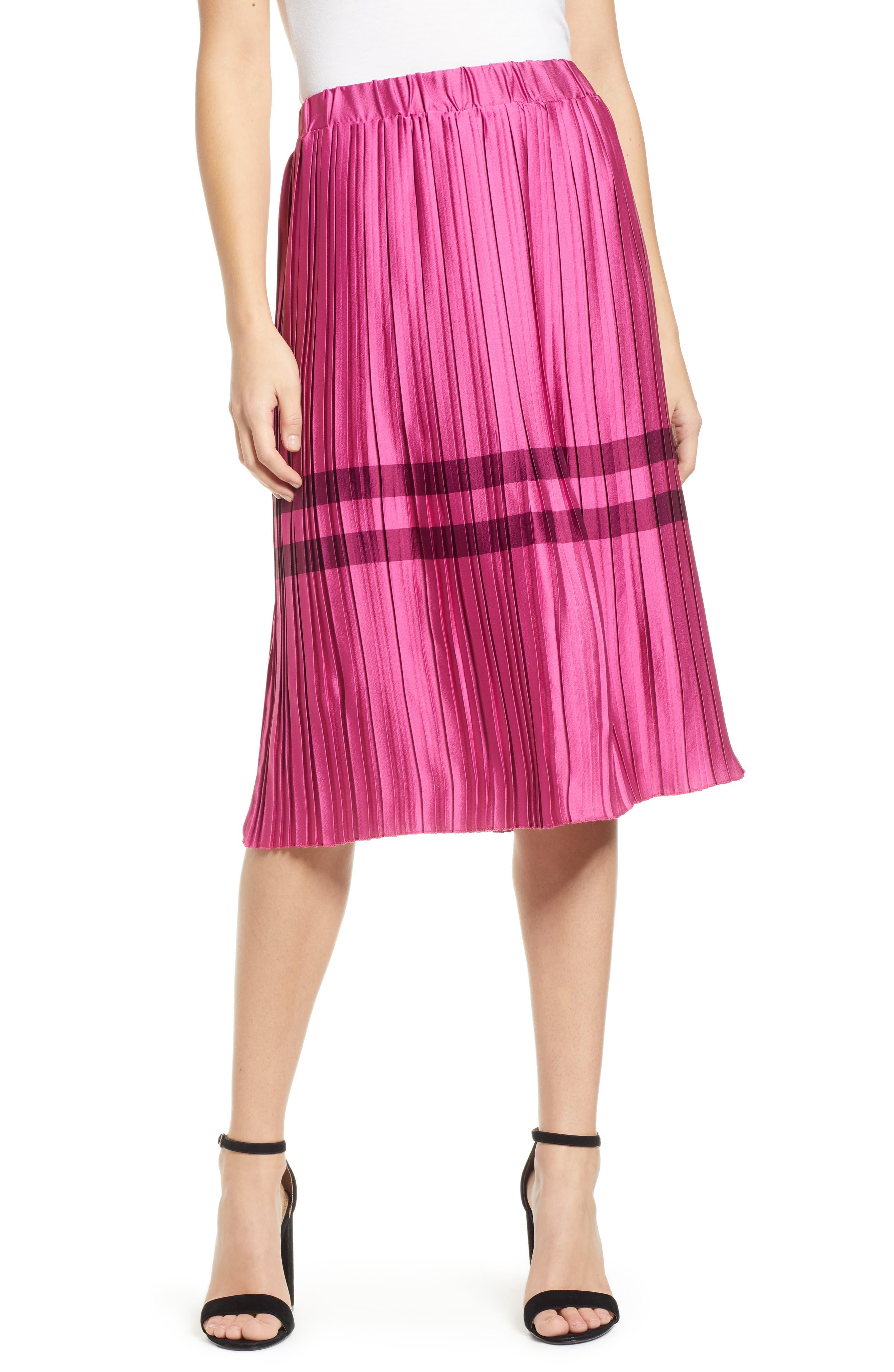 Niti Pleated Skirt, Main, color, FESTIVAL FUCHSIA