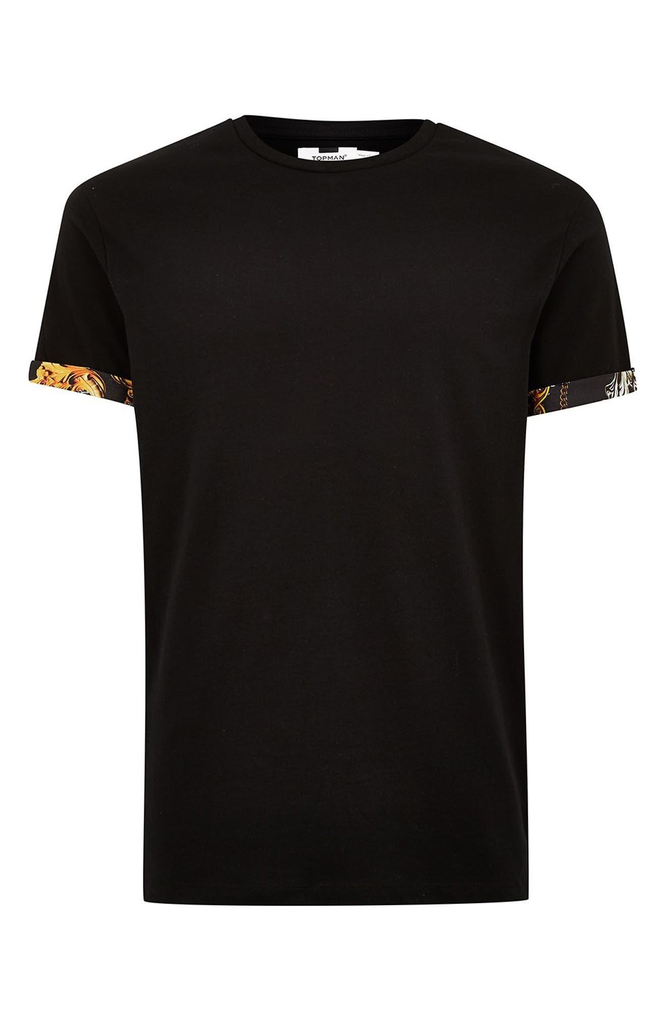Baroque Trim Roller T-Shirt,                             Alternate thumbnail 4, color,                             BLACK