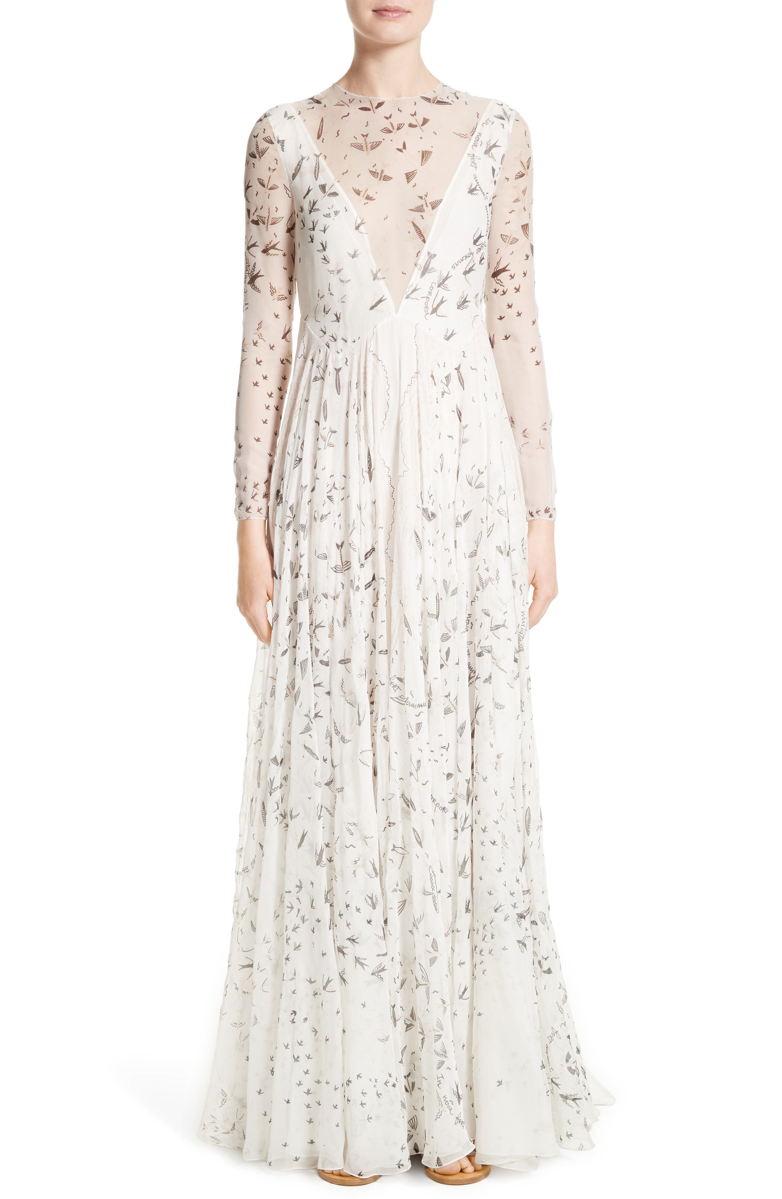 Swallow Print Silk Gown, Main, color, 901
