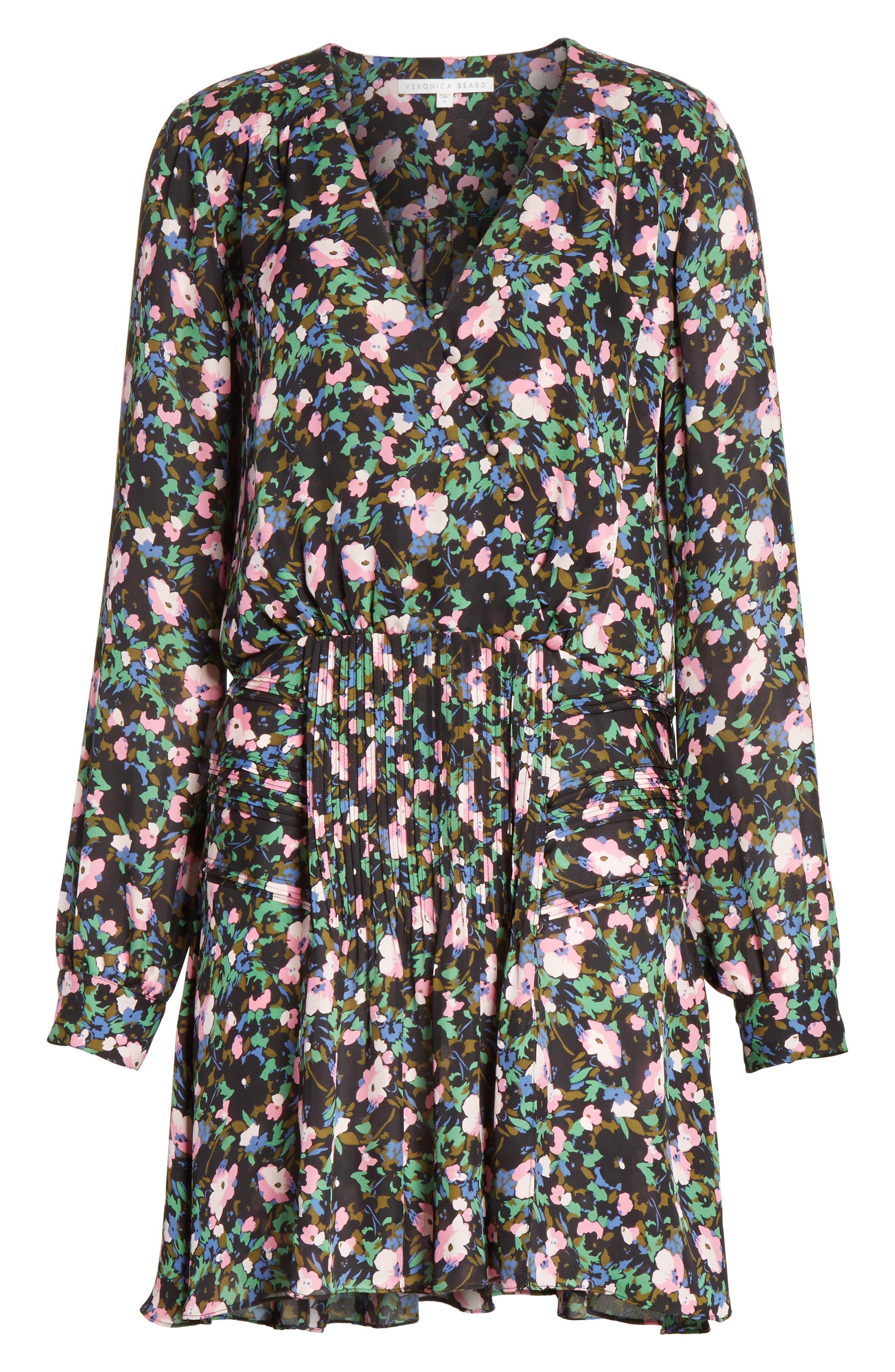 Naomi Floral Print Silk Dress,                             Alternate thumbnail 6, color,