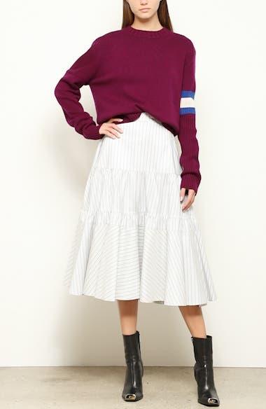 Cashmere Stripe Sleeve Sweater, video thumbnail