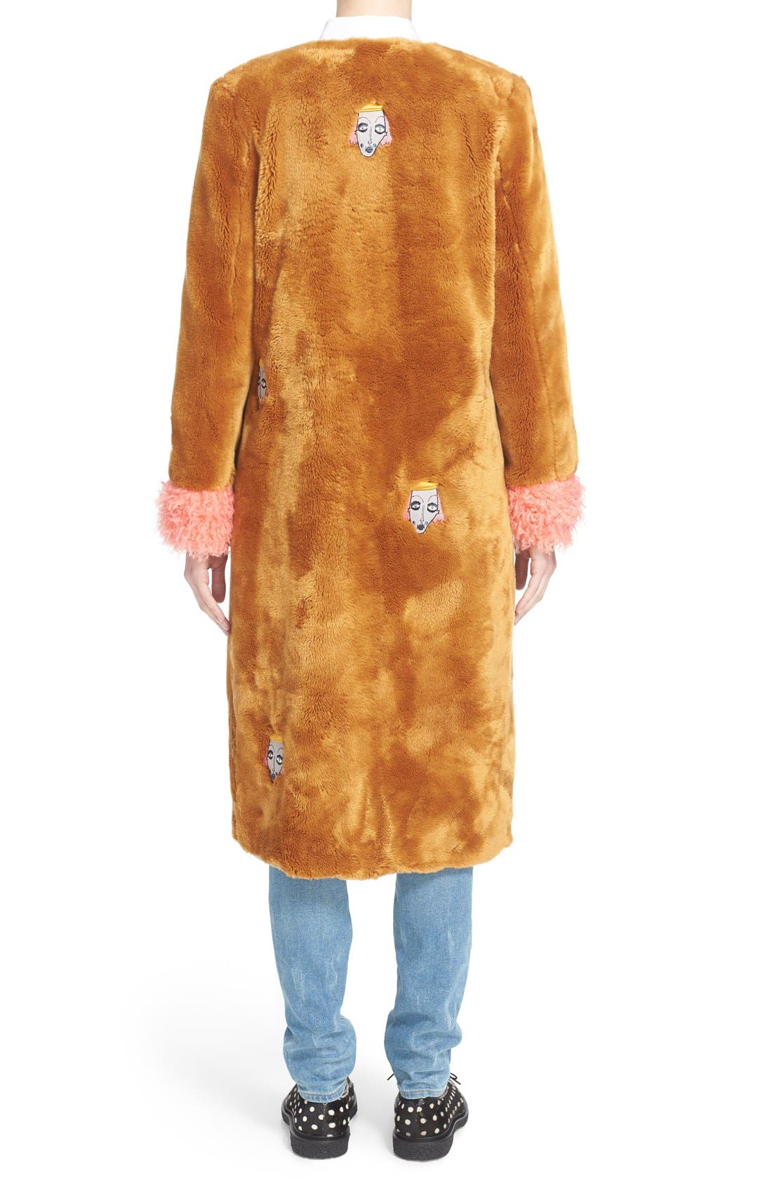 'Frenchie' Faux Fur Coat with Patches,                             Alternate thumbnail 2, color,                             240