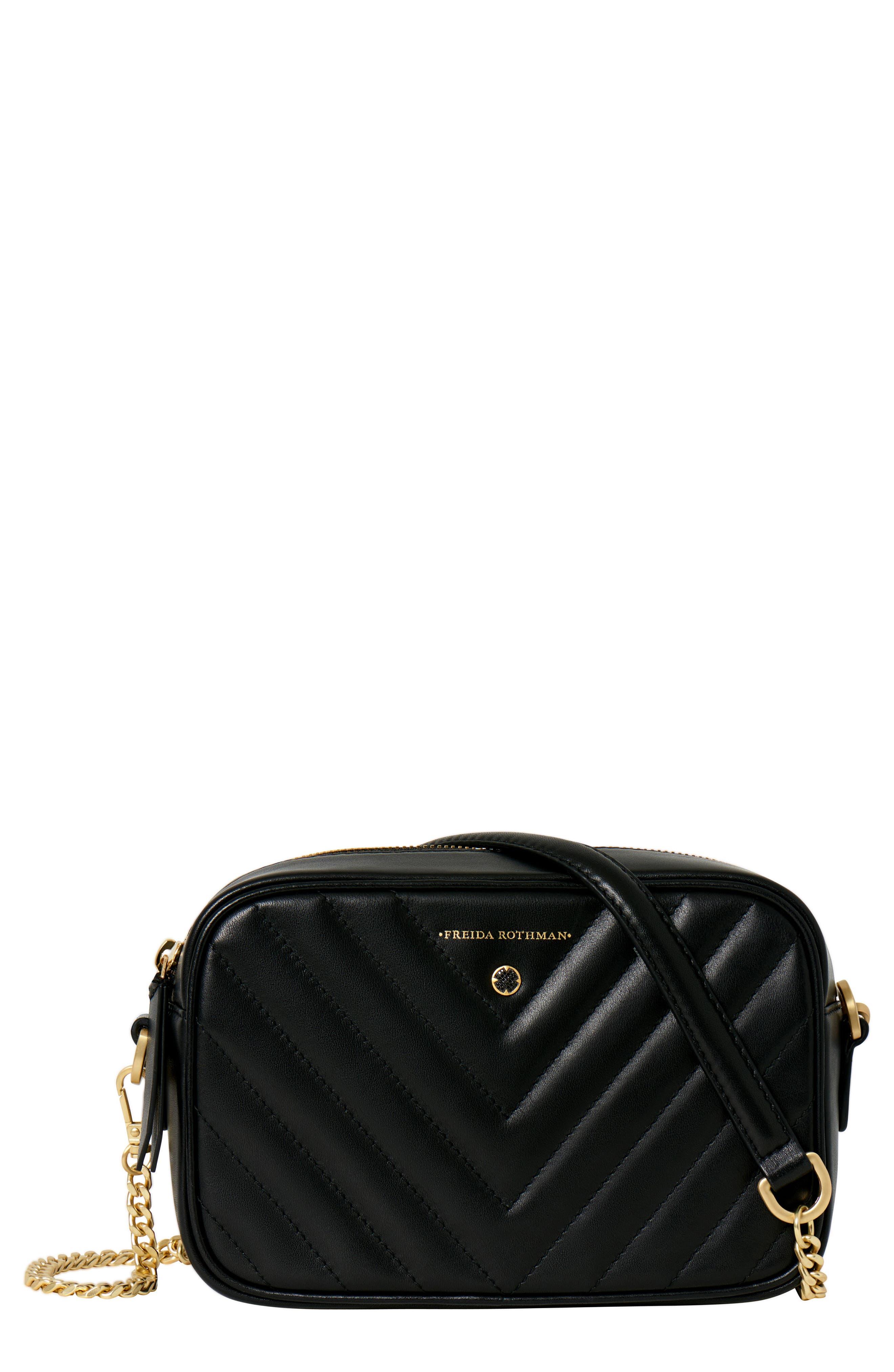 Lexington Quilted Leather Camera Bag,                             Main thumbnail 1, color,                             BLACK
