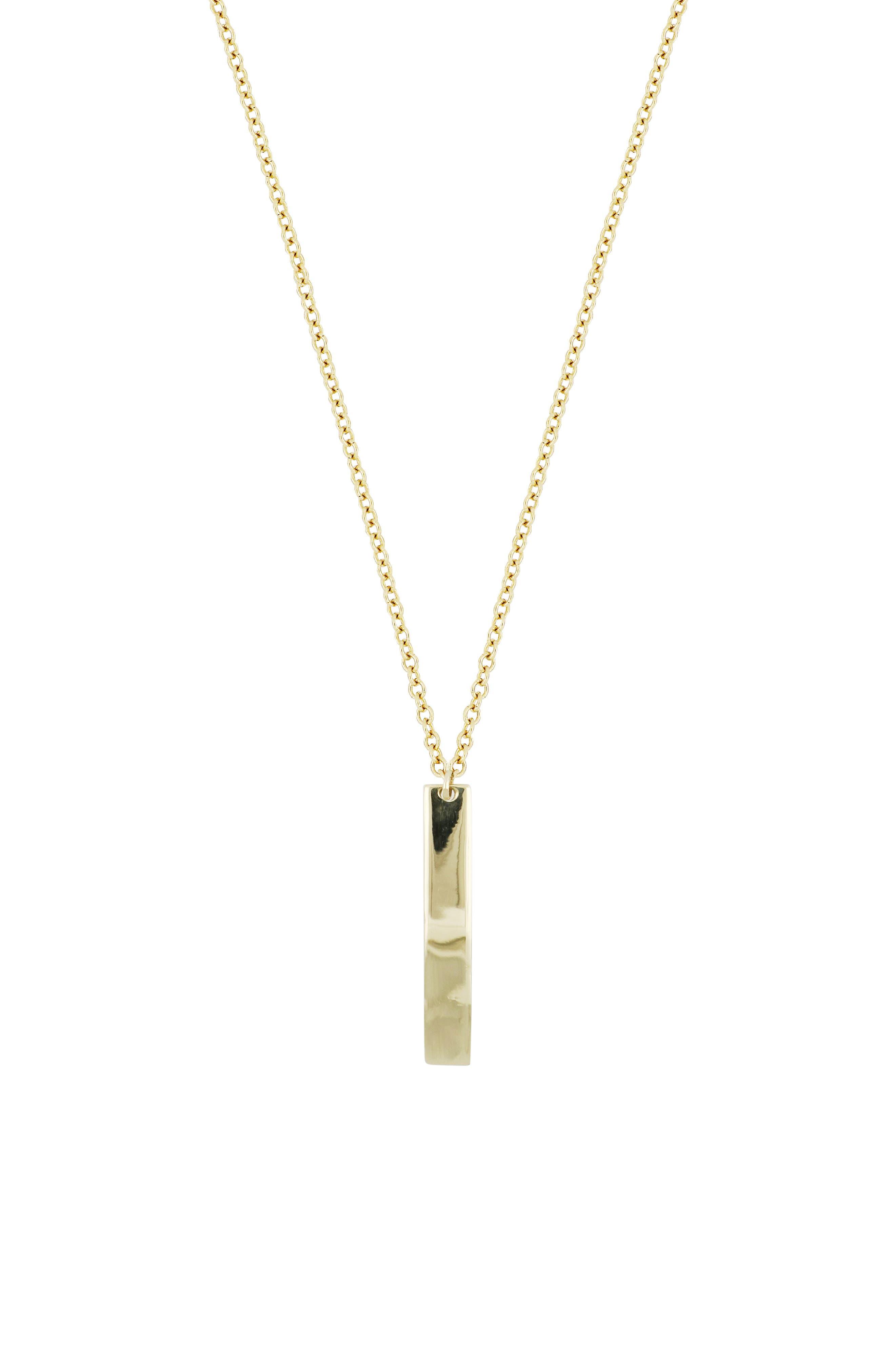 14K Gold Bar Pendant Necklace, Main, color, 710