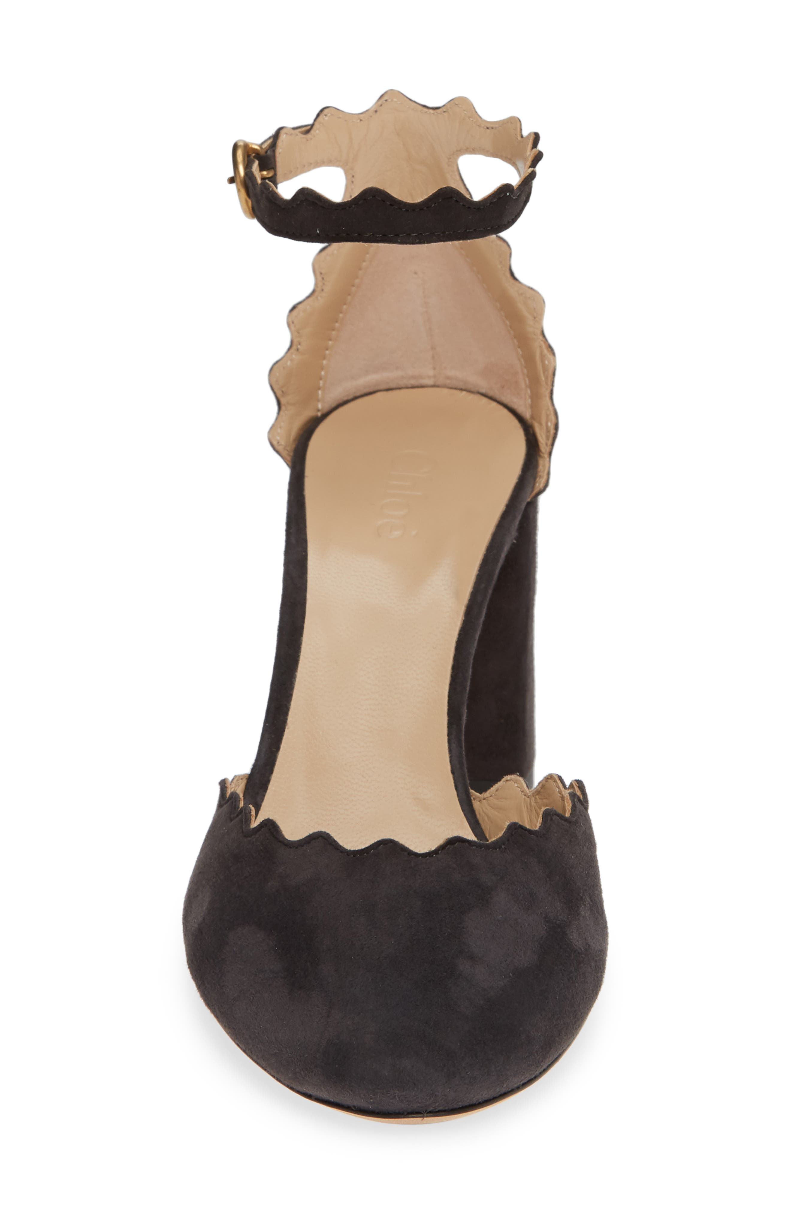 Scalloped Ankle Strap d'Orsay Pump,                             Alternate thumbnail 4, color,                             CHARCOAL BLACK