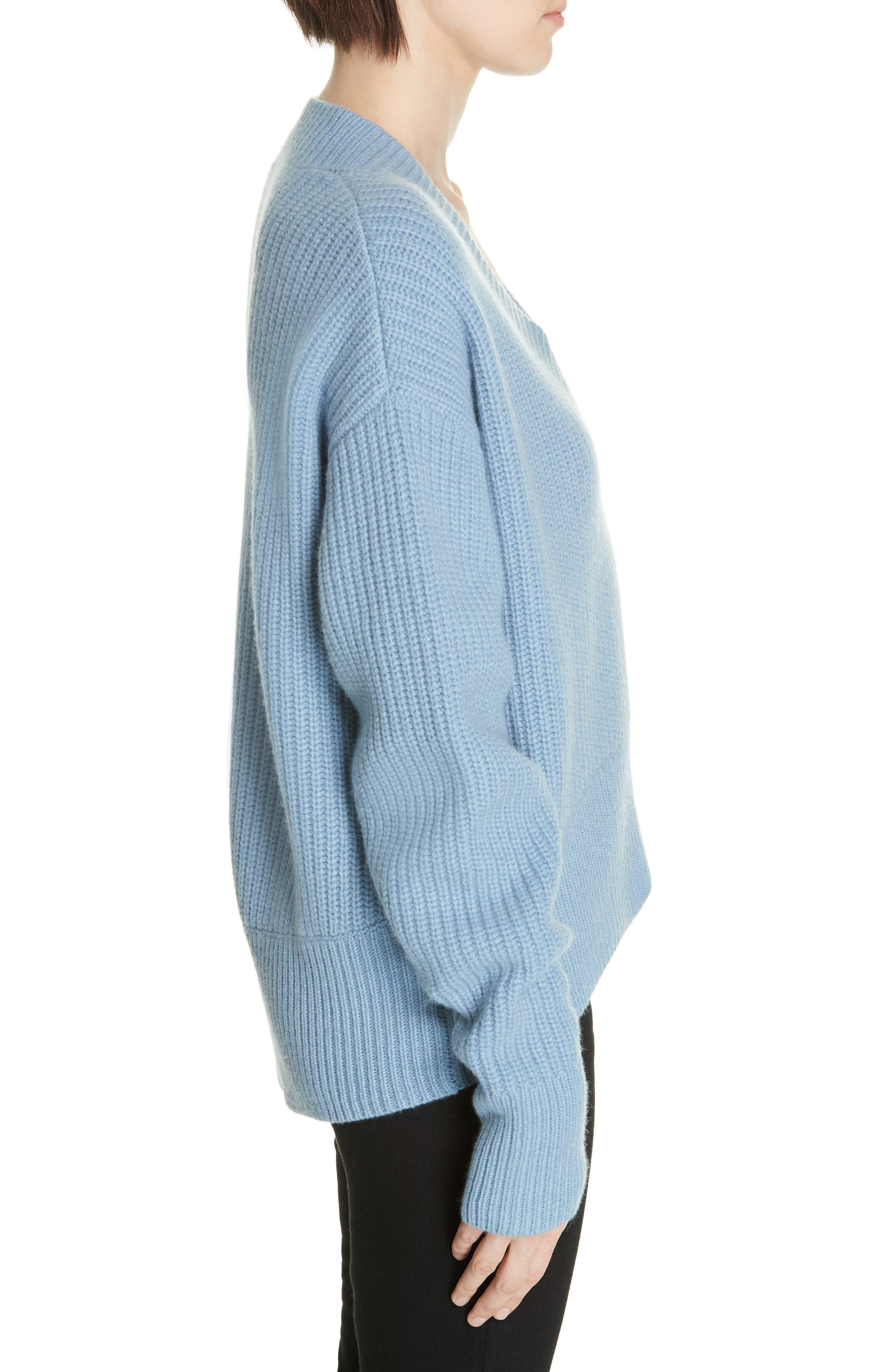 V-Neck Wool & Cashmere Sweater,                             Alternate thumbnail 3, color,                             BLUE COLONY
