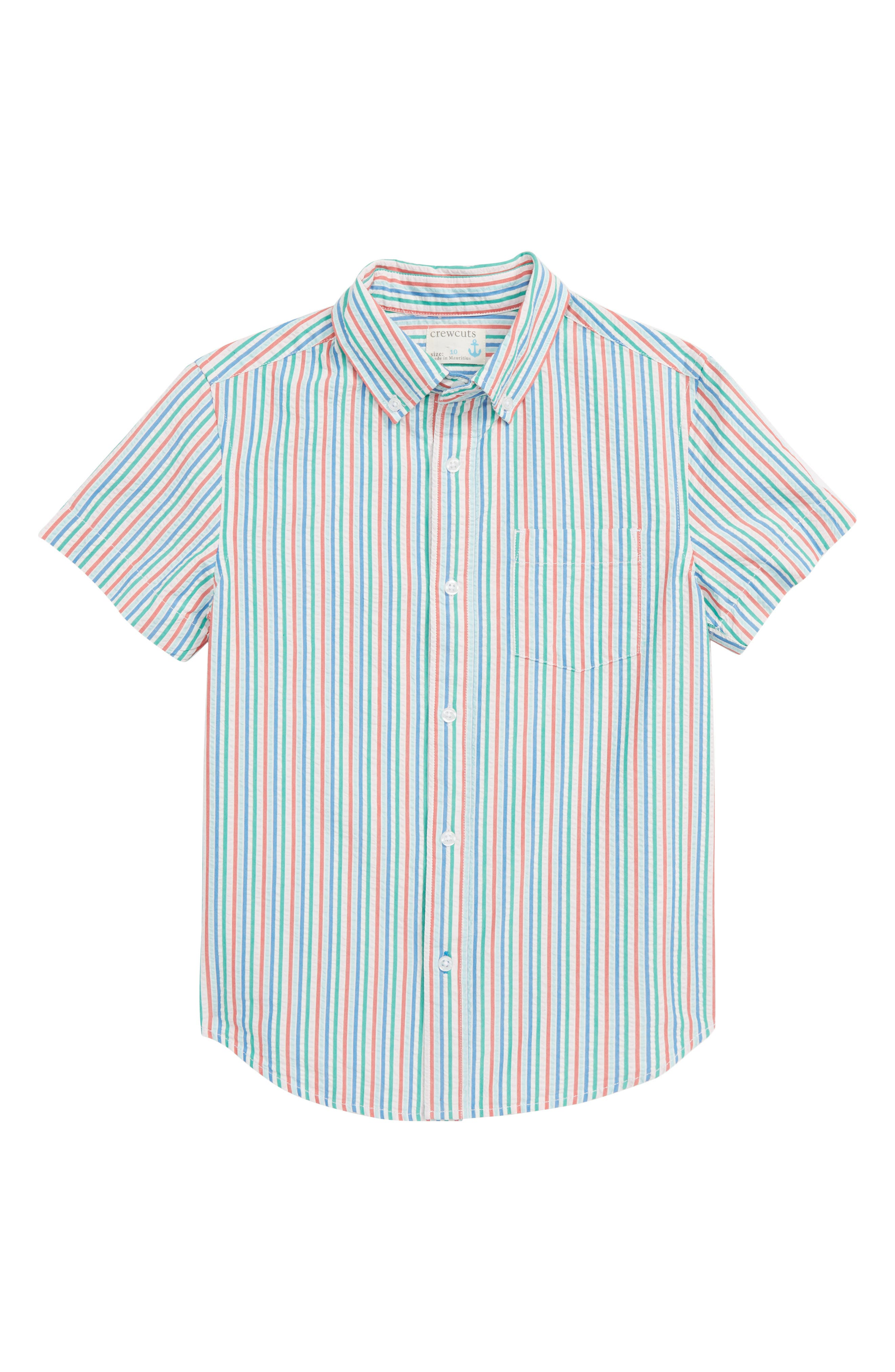 CREWCUTS BY J.CREW Seersucker Shirt, Main, color, MAR VISTA IVORY MULTI