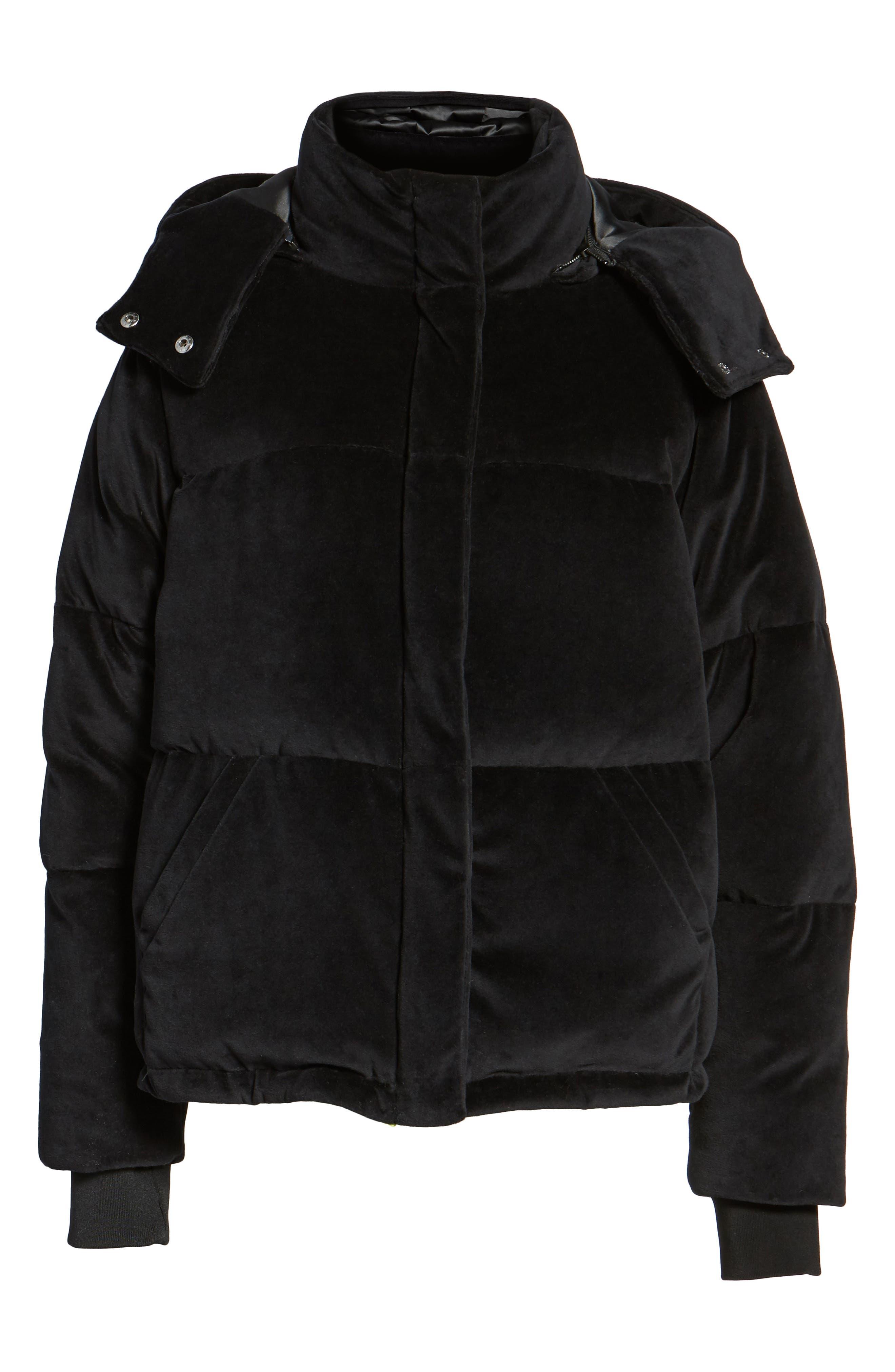 Velour Puffer Jacket,                             Alternate thumbnail 5, color,                             001
