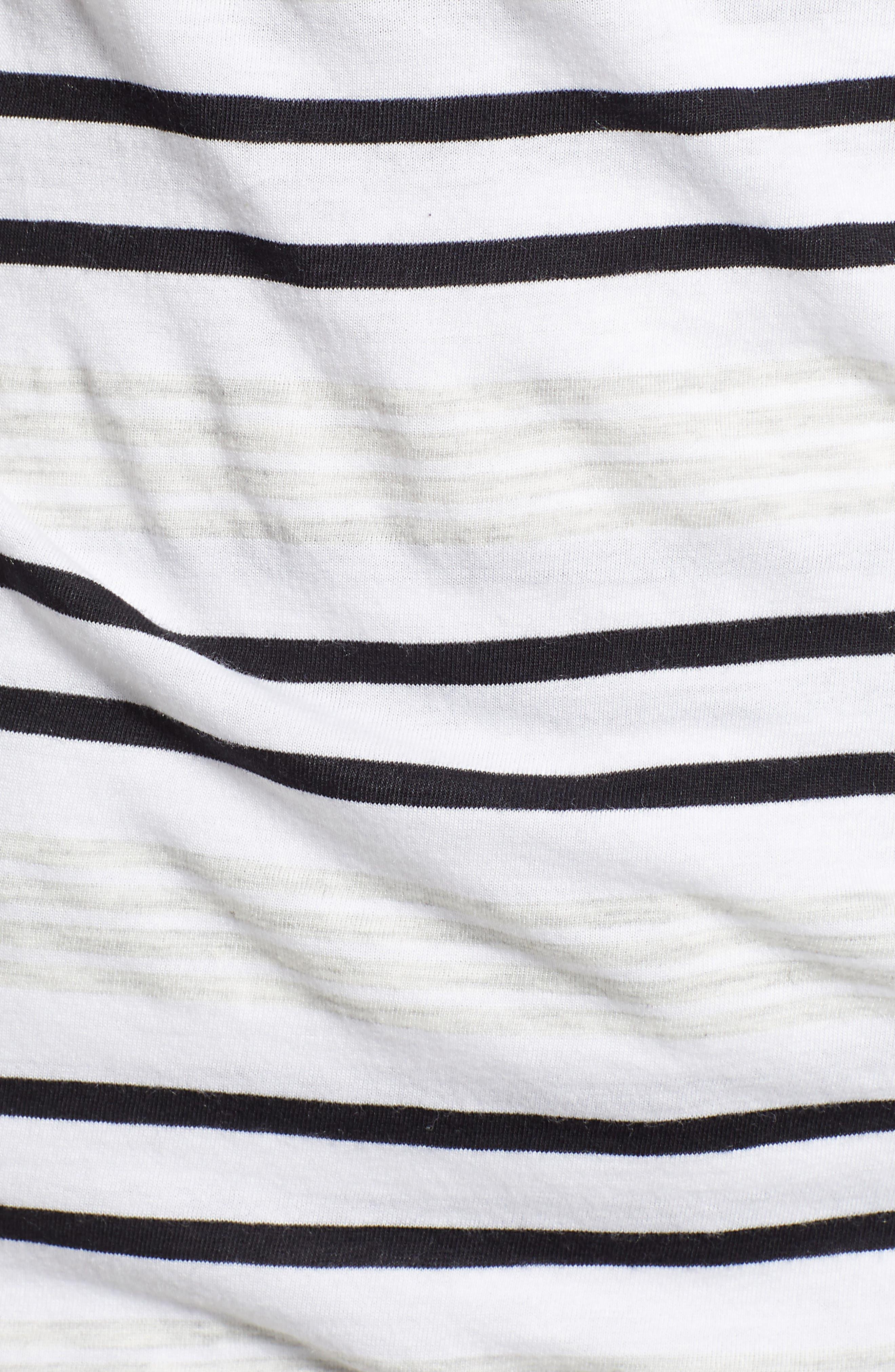 Faux Wrap Stripe Top,                             Alternate thumbnail 5, color,                             NEUTRAL COMBO