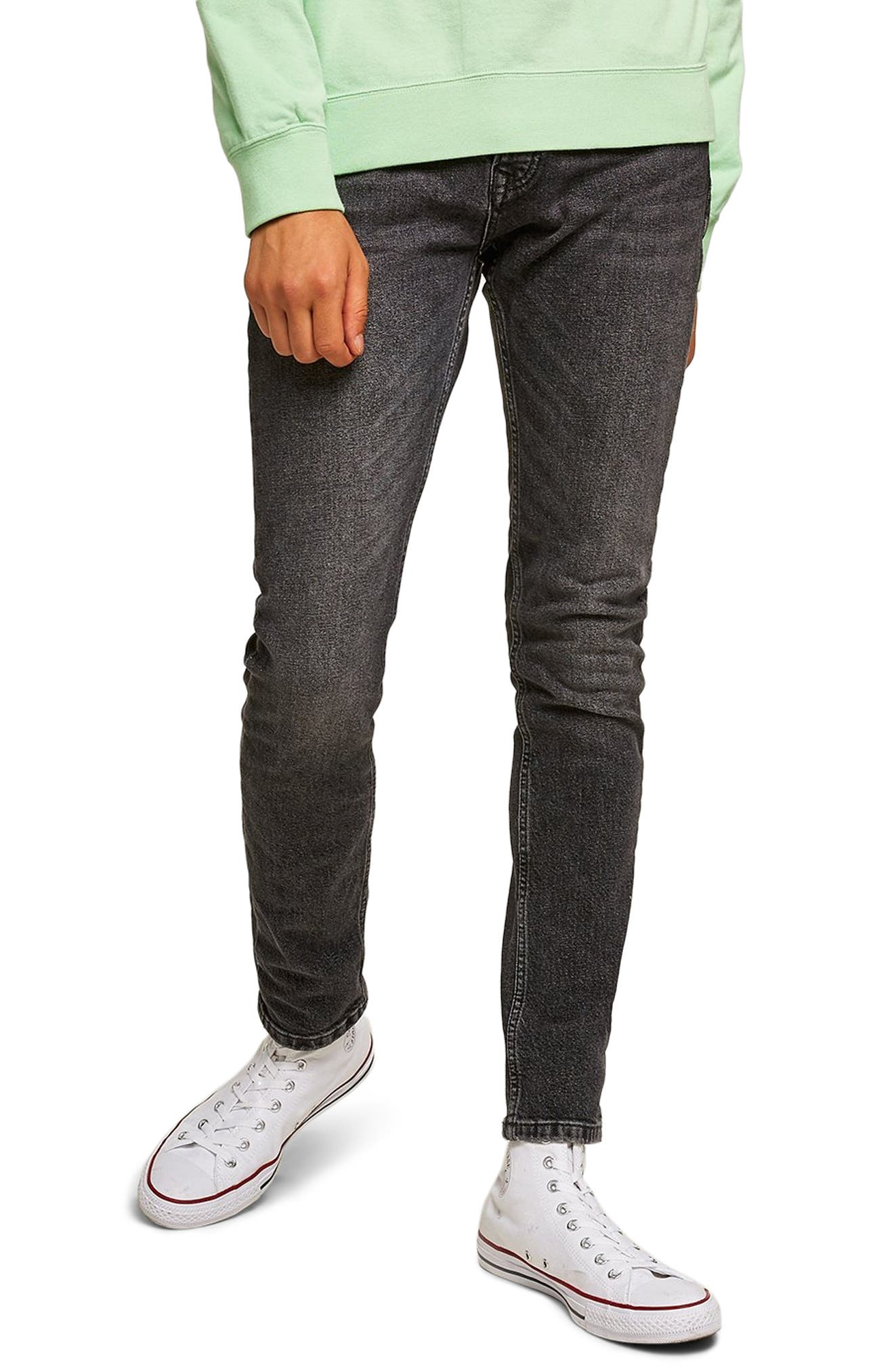 TOPMAN Washed Skinny Fit Jeans, Main, color, BLACK