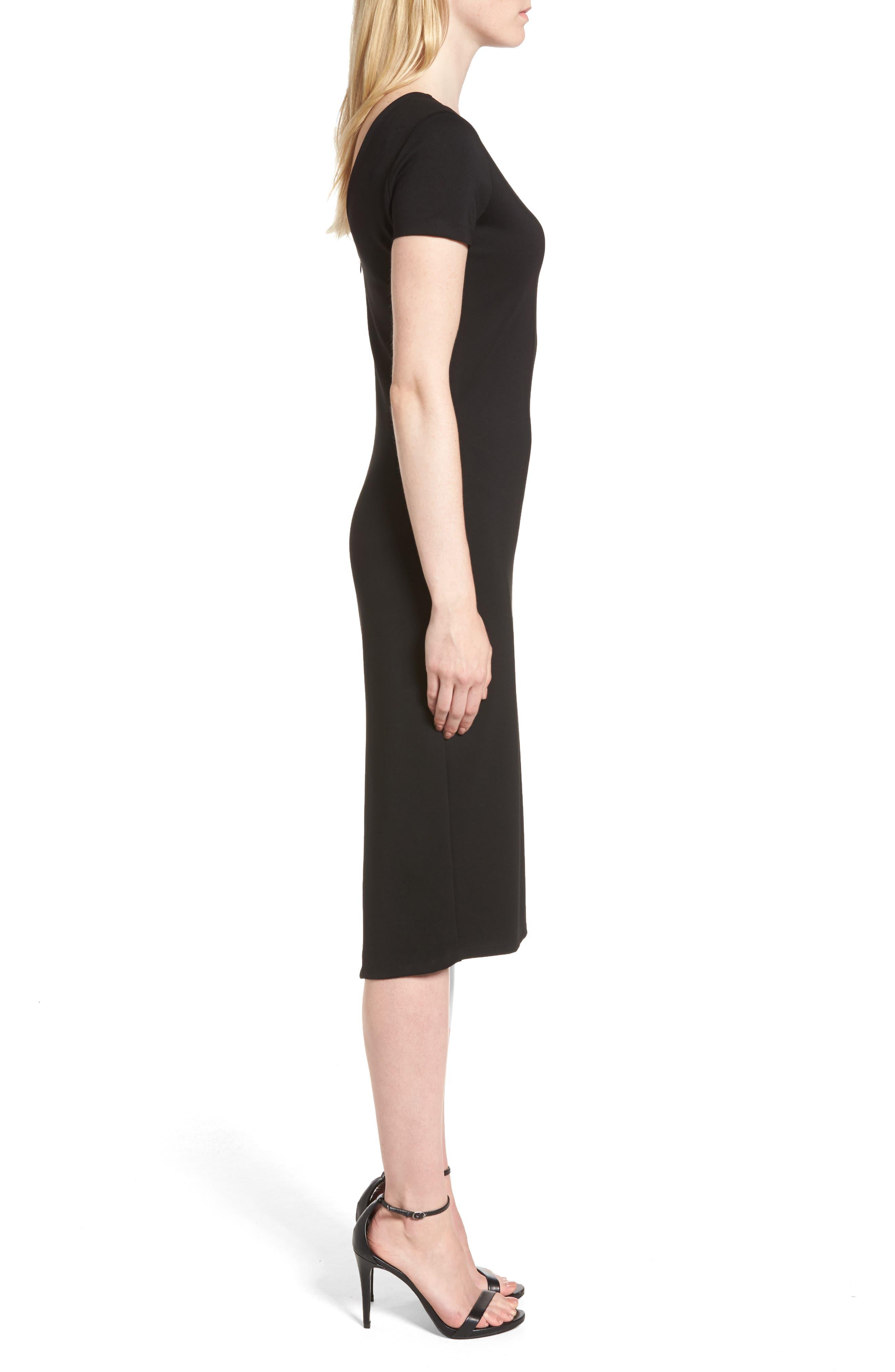 Ponte Sheath Dress,                             Alternate thumbnail 3, color,                             BLACK