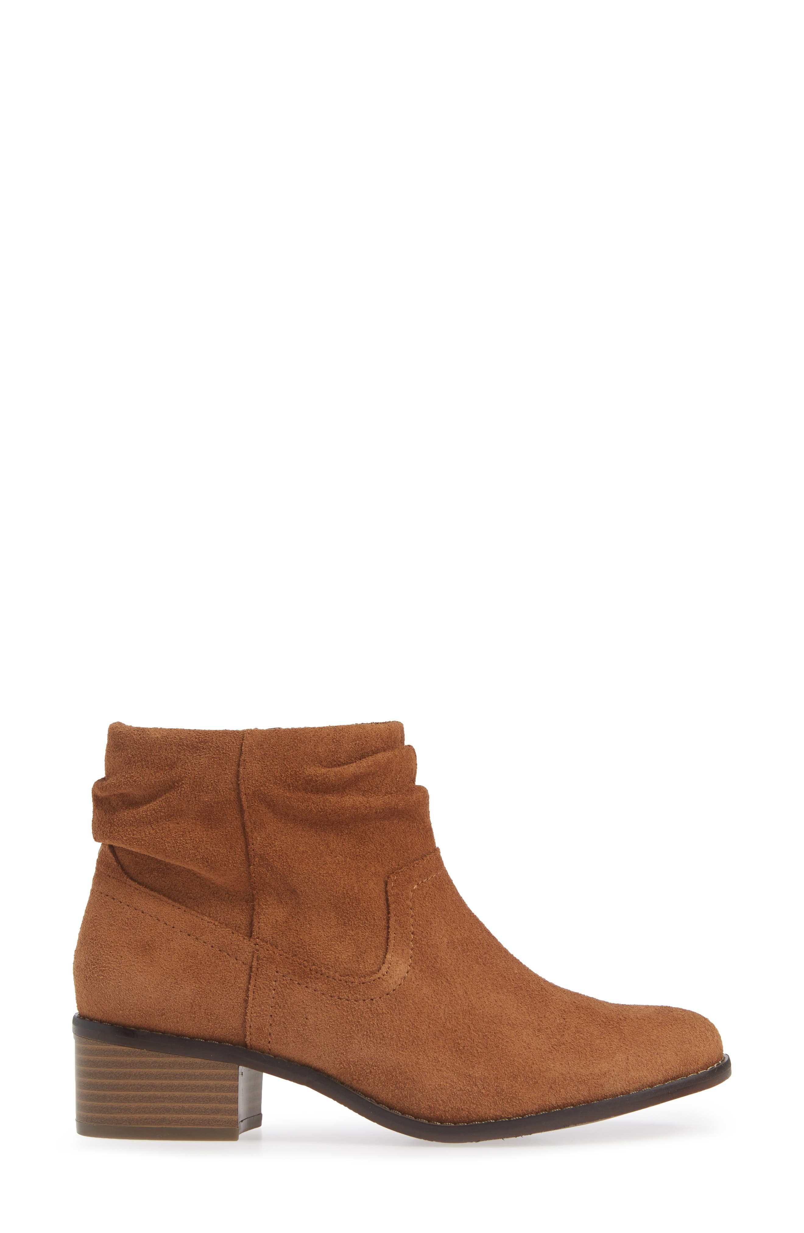 Kanela Low Slouchy Bootie,                             Alternate thumbnail 3, color,                             TOFFEE SUEDE