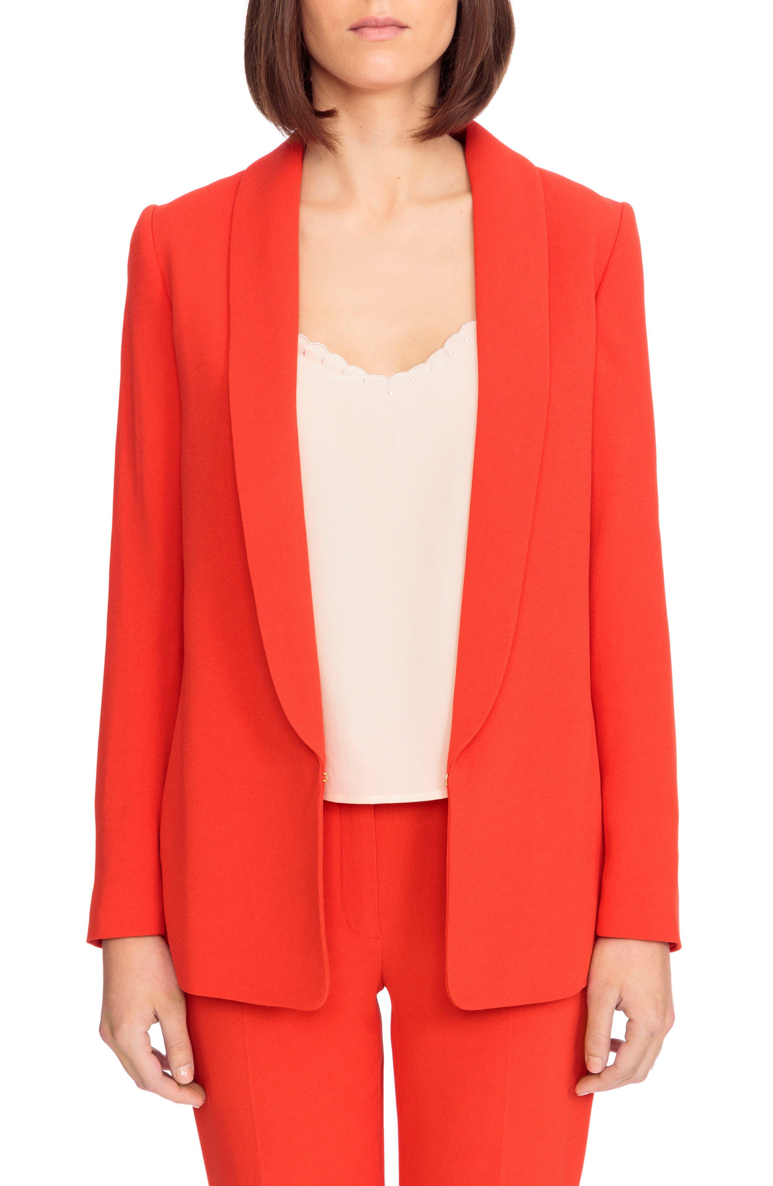 Sarina Blazer,                         Main,                         color, CORAL RED