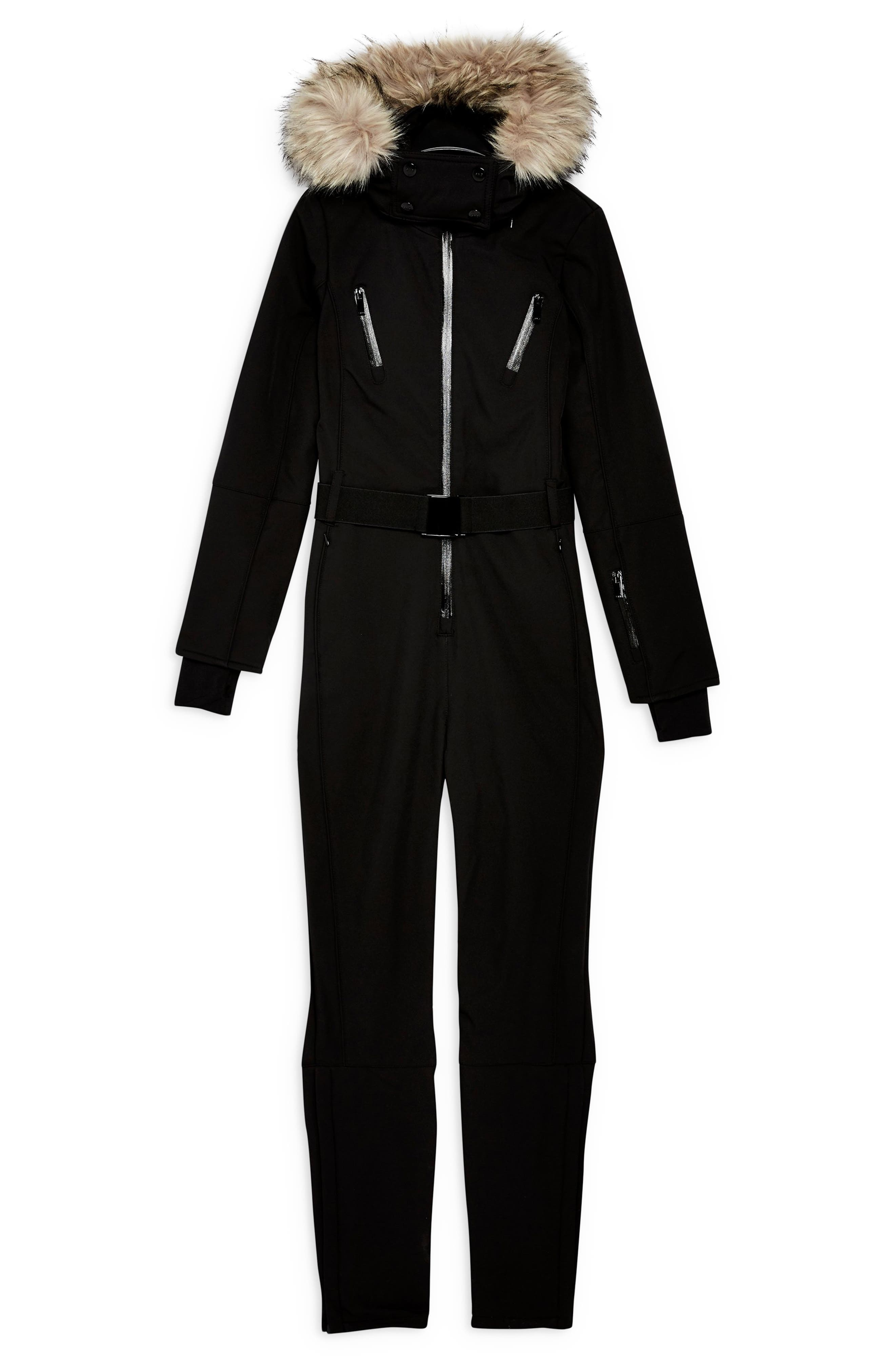 Faux Fur Trim Snowsuit,                             Alternate thumbnail 4, color,                             BLACK