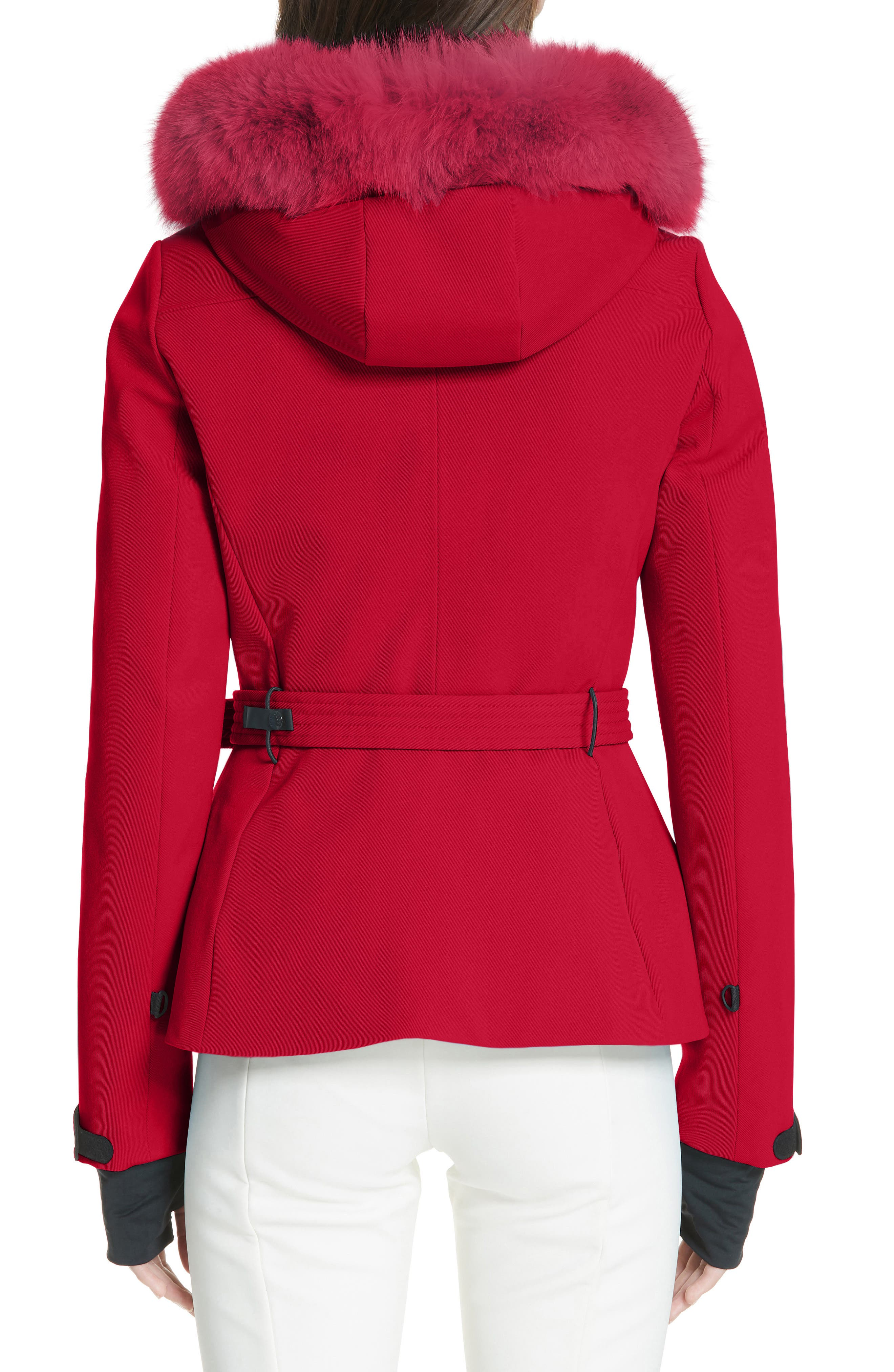 MONCLER,                             Bauges Water Repellent Hooded Down Coat with Detachable Genuine Fox Fur Trim,                             Alternate thumbnail 2, color,                             RED