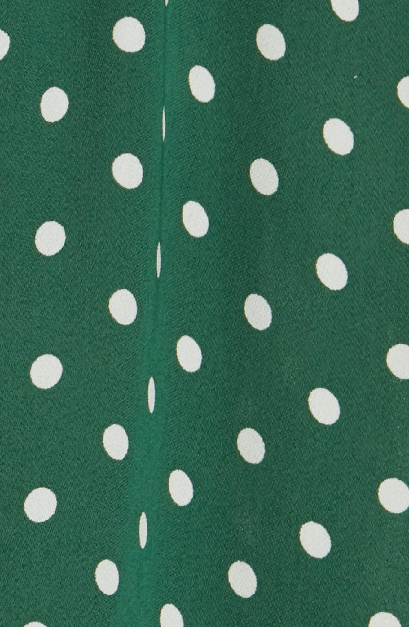 Polka Dot Short Sleeve Top,                             Alternate thumbnail 5, color,                             GREEN EDEN PETITE DOT