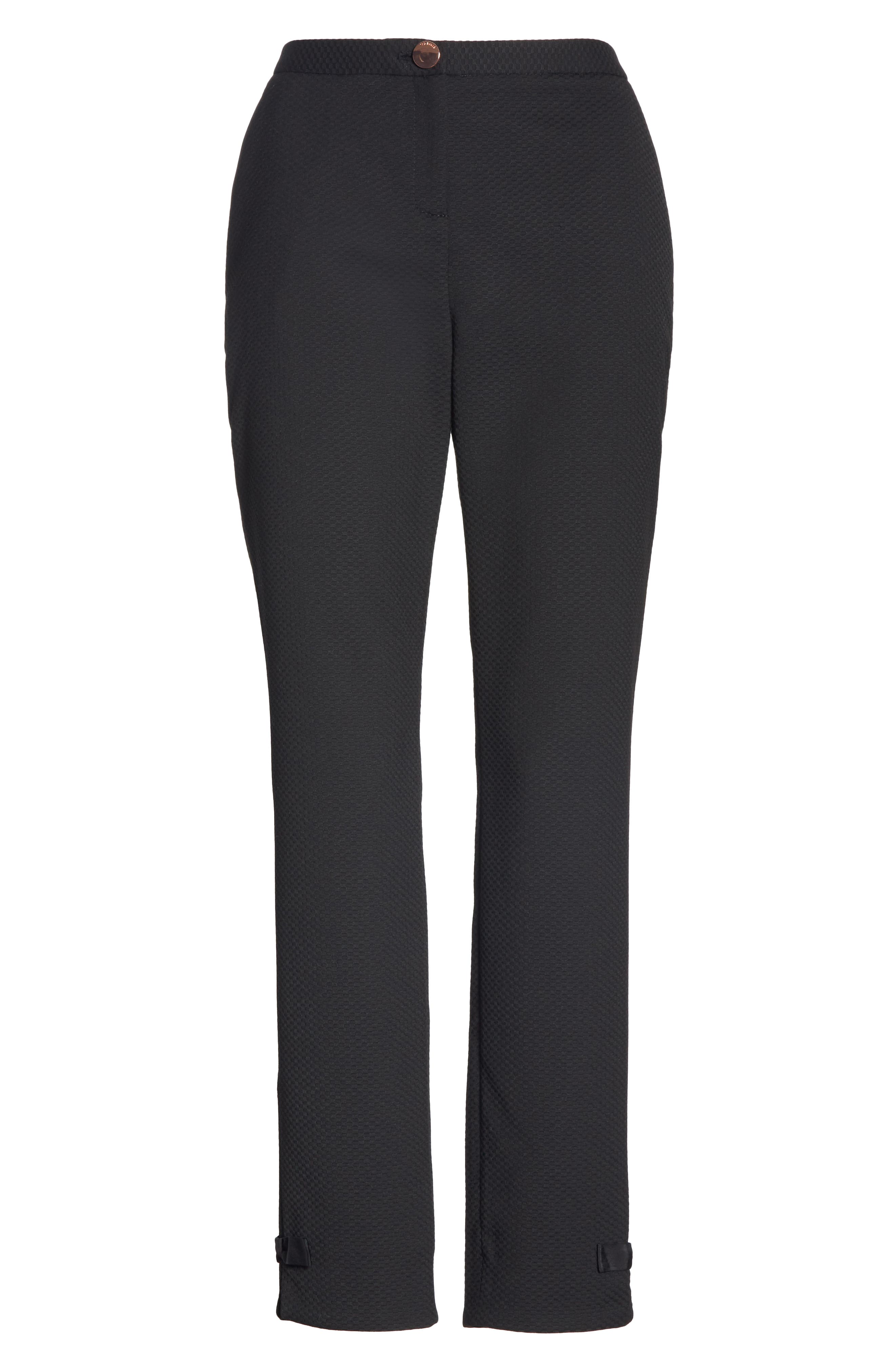Ted Working Title Nadaet Bow Detail Textured Trousers,                             Alternate thumbnail 6, color,                             BLACK