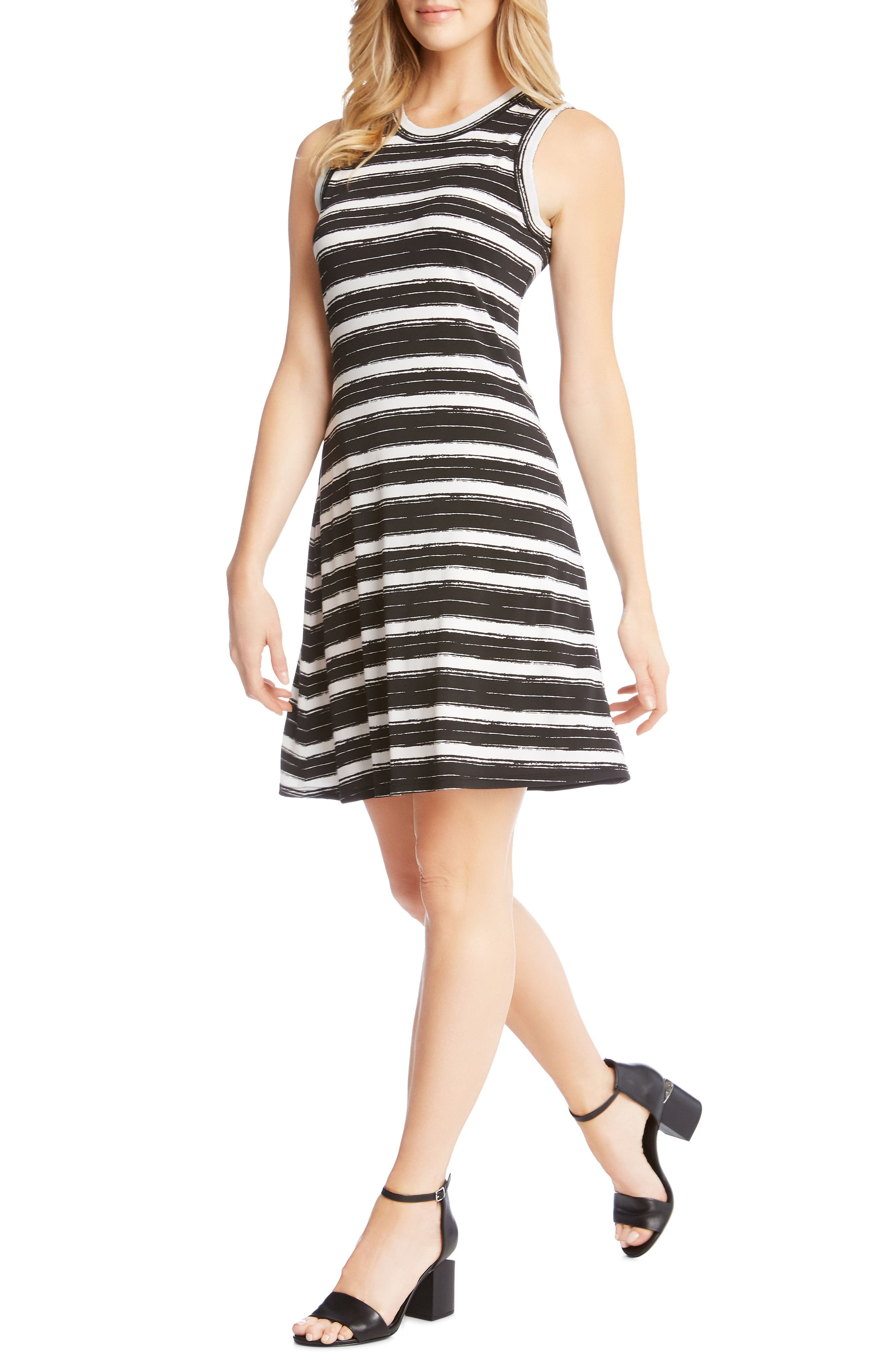 Stripe Fit and Flare Dress,                             Alternate thumbnail 3, color,                             STRIPE