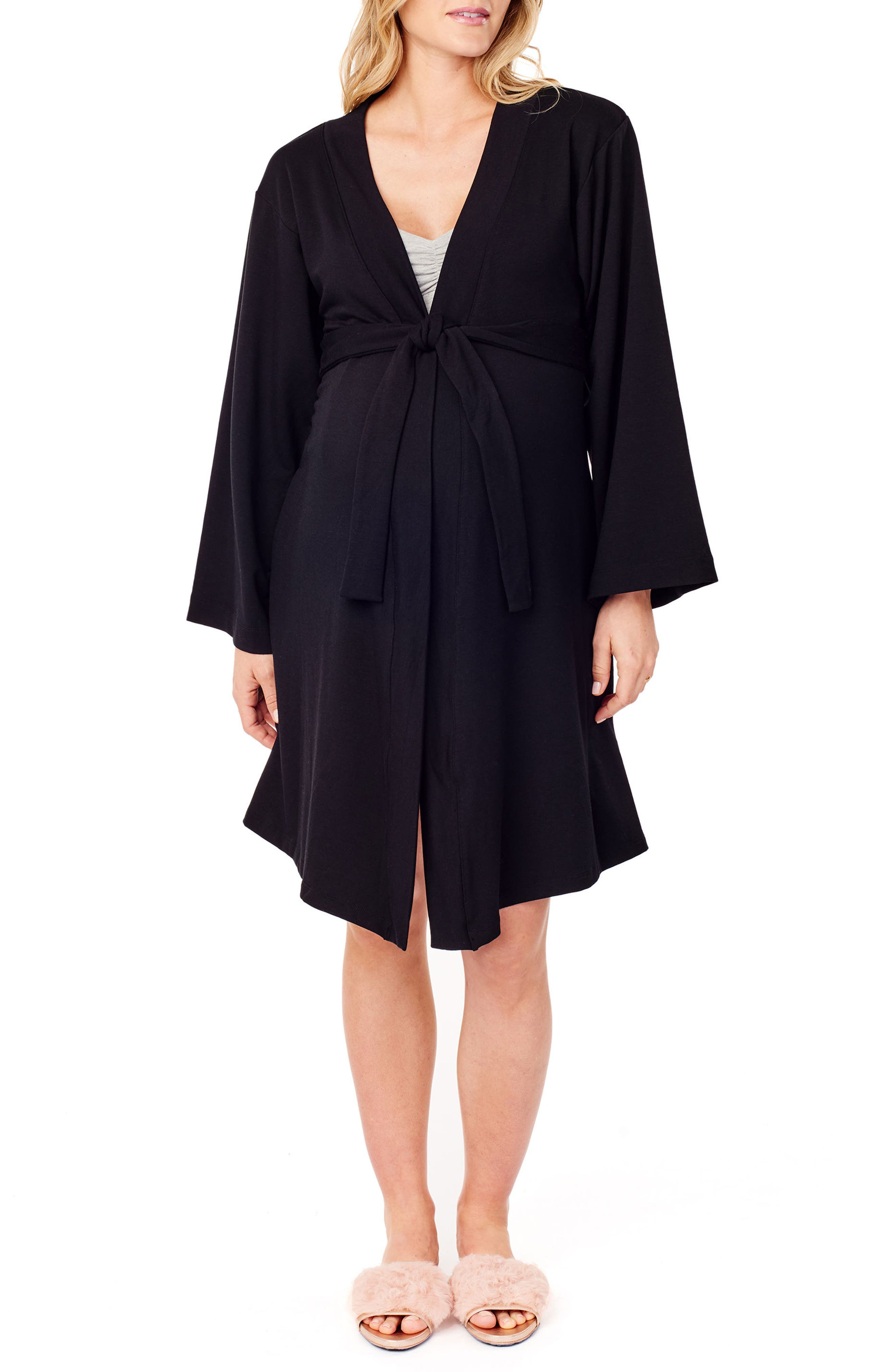 Kimono Lounge Maternity Robe,                         Main,                         color, JET BLACK