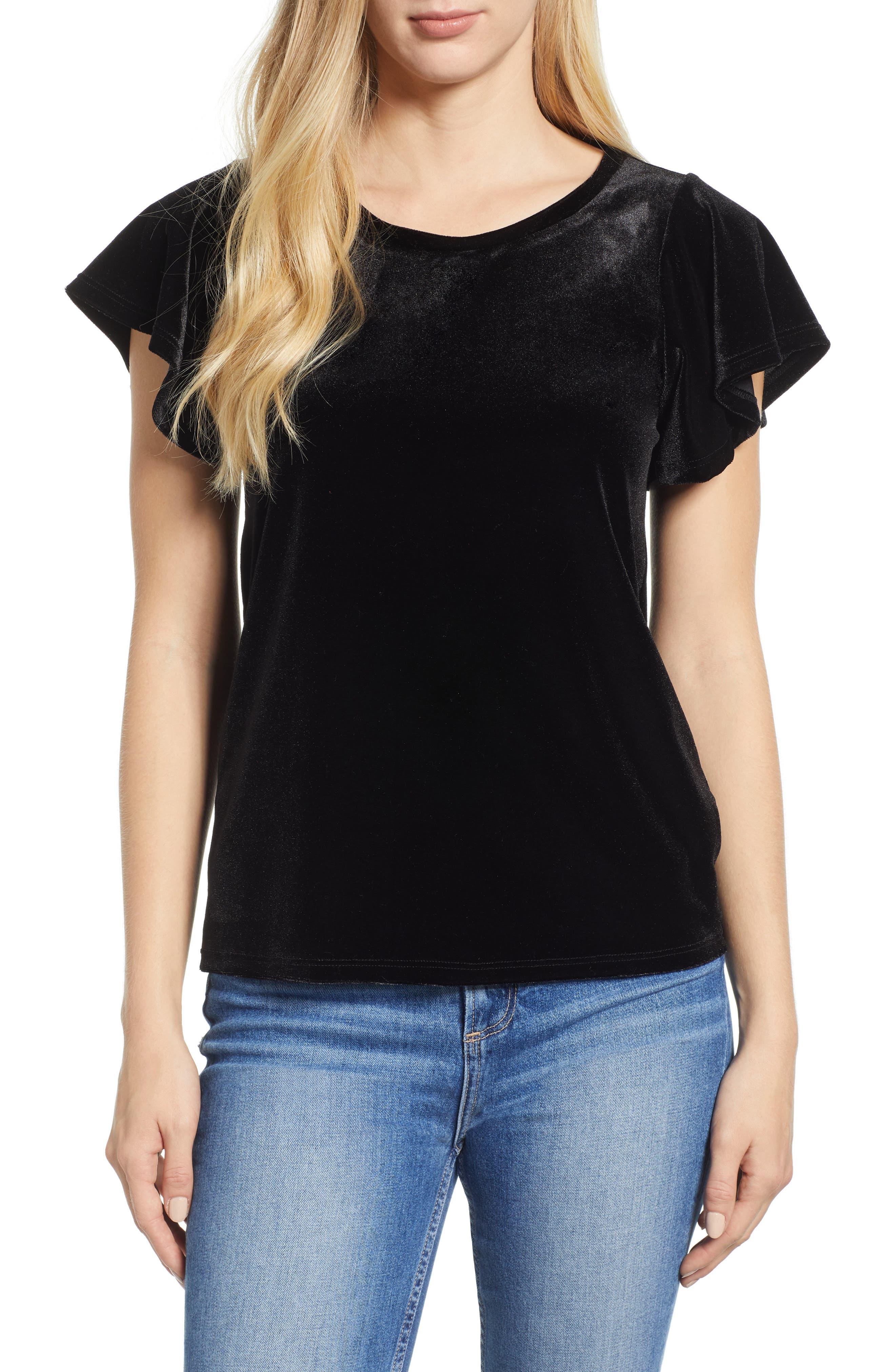 x Glam Squad Velvet Flutter Sleeve Shirt, Main, color, BLACK