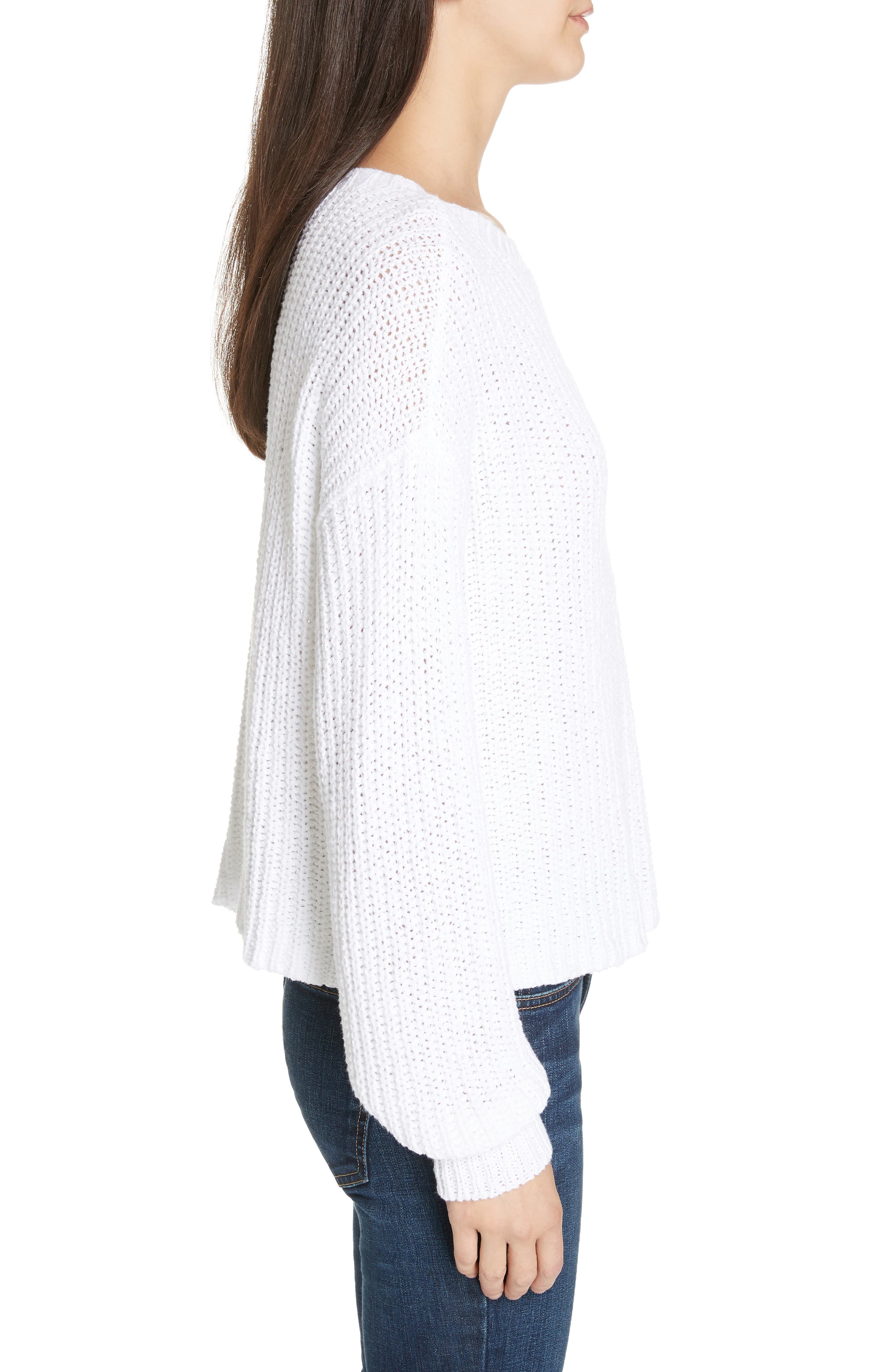 Crewneck Crop Shaker Sweater,                             Alternate thumbnail 4, color,                             WHITE