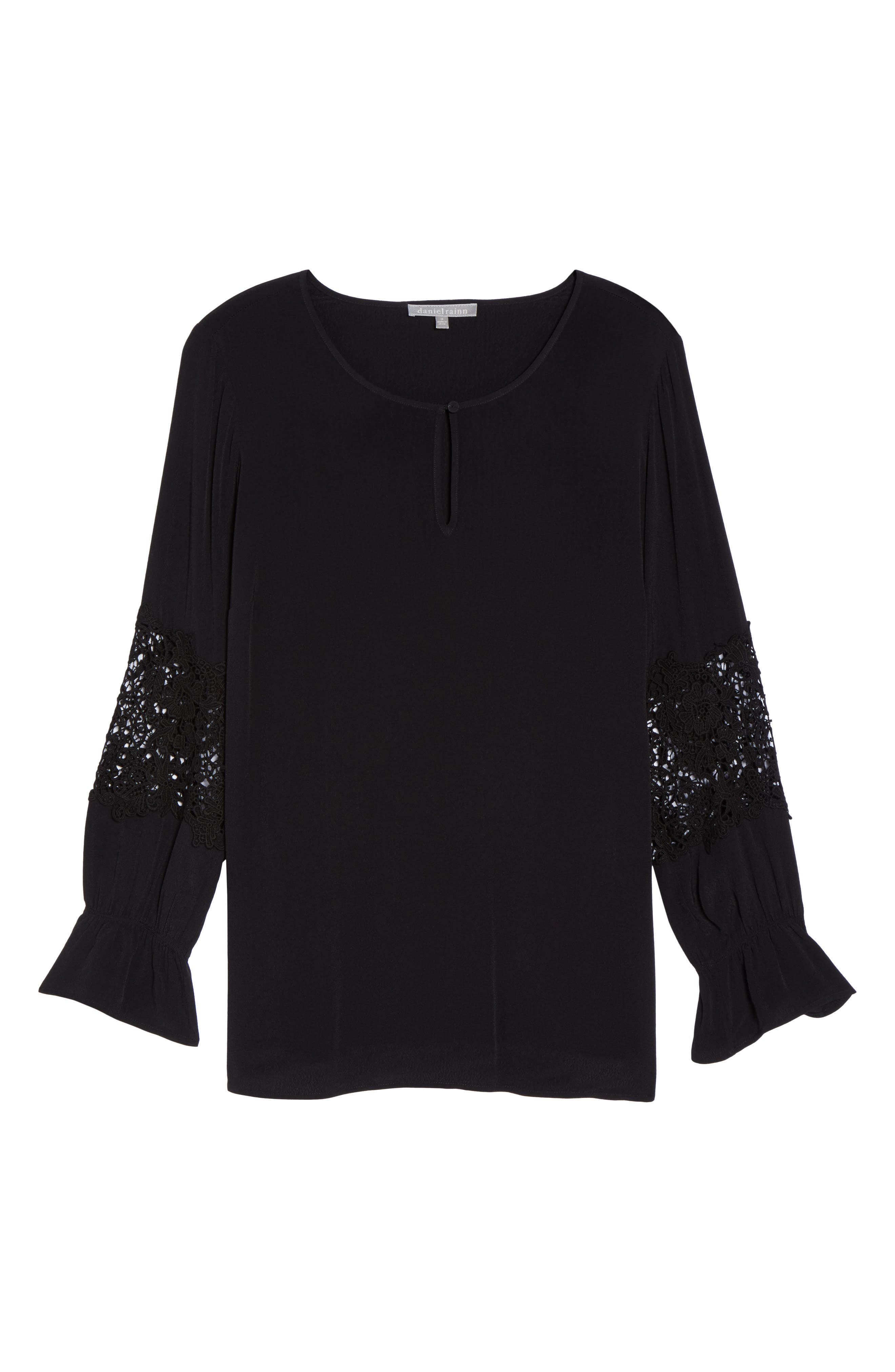 Bell Sleeve Lace Top,                             Alternate thumbnail 6, color,                             002