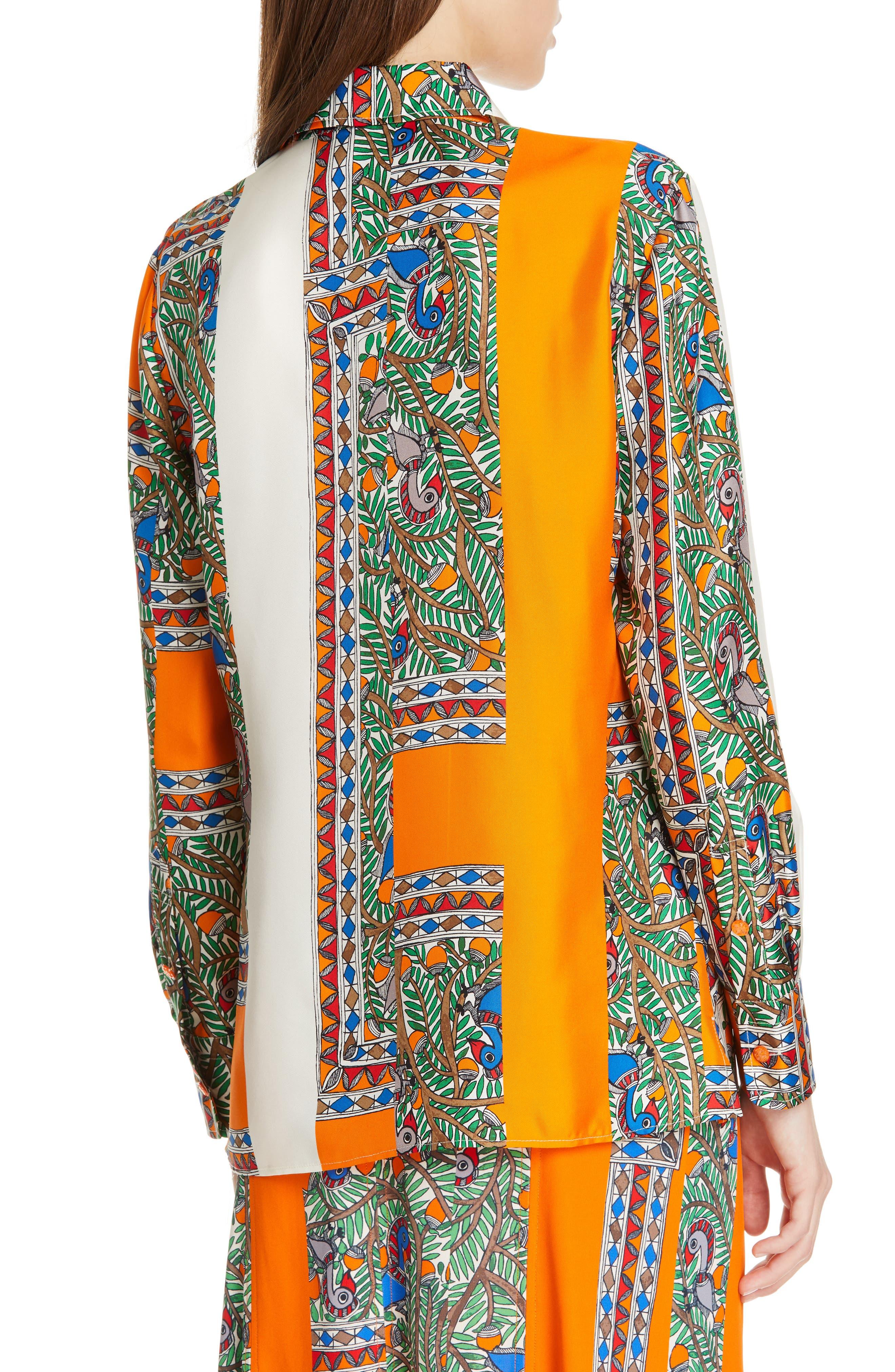 Printed Silk Shirt,                             Alternate thumbnail 2, color,                             SOMETHING WILD STRIPE
